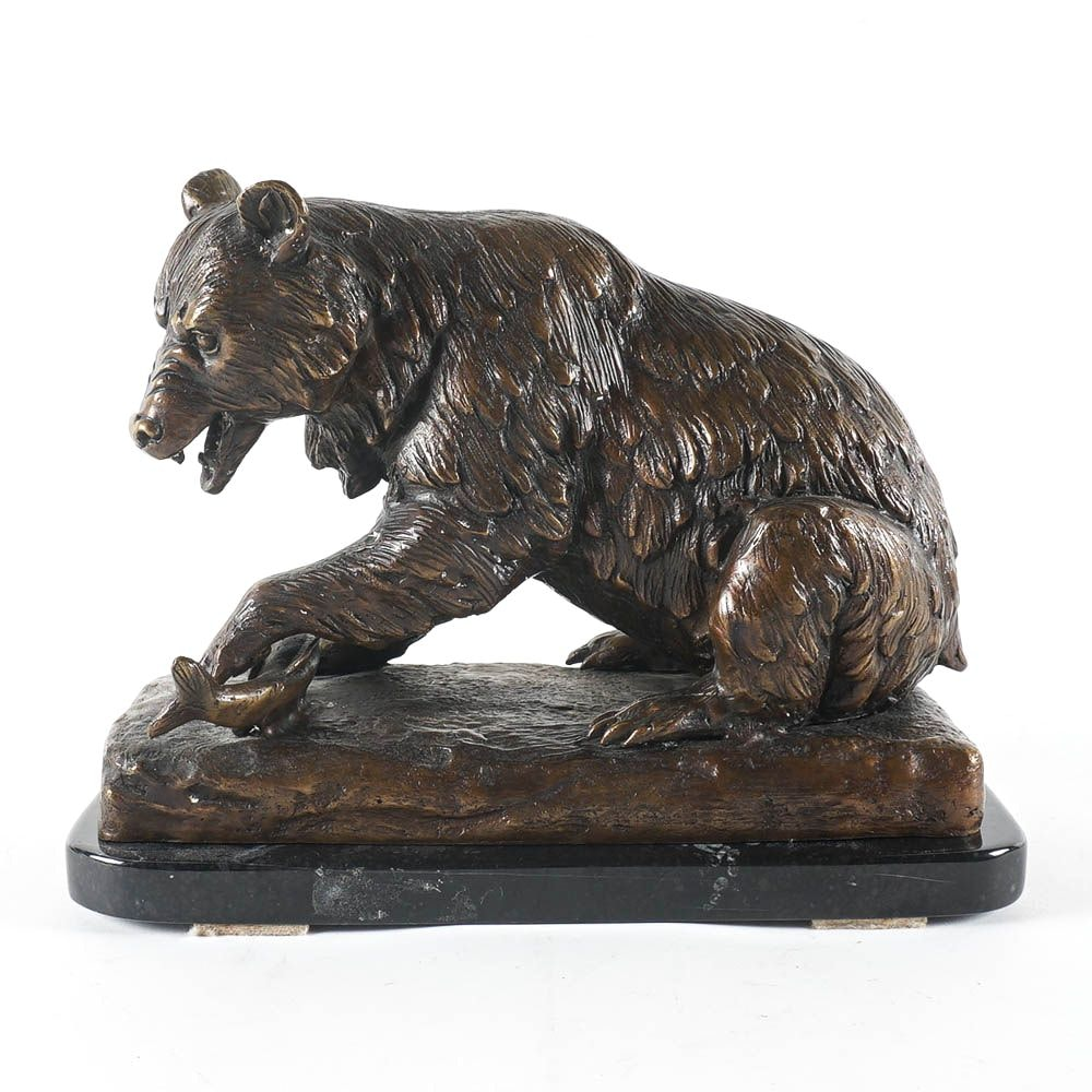 Metal Sculpture of Bear on Marble Base