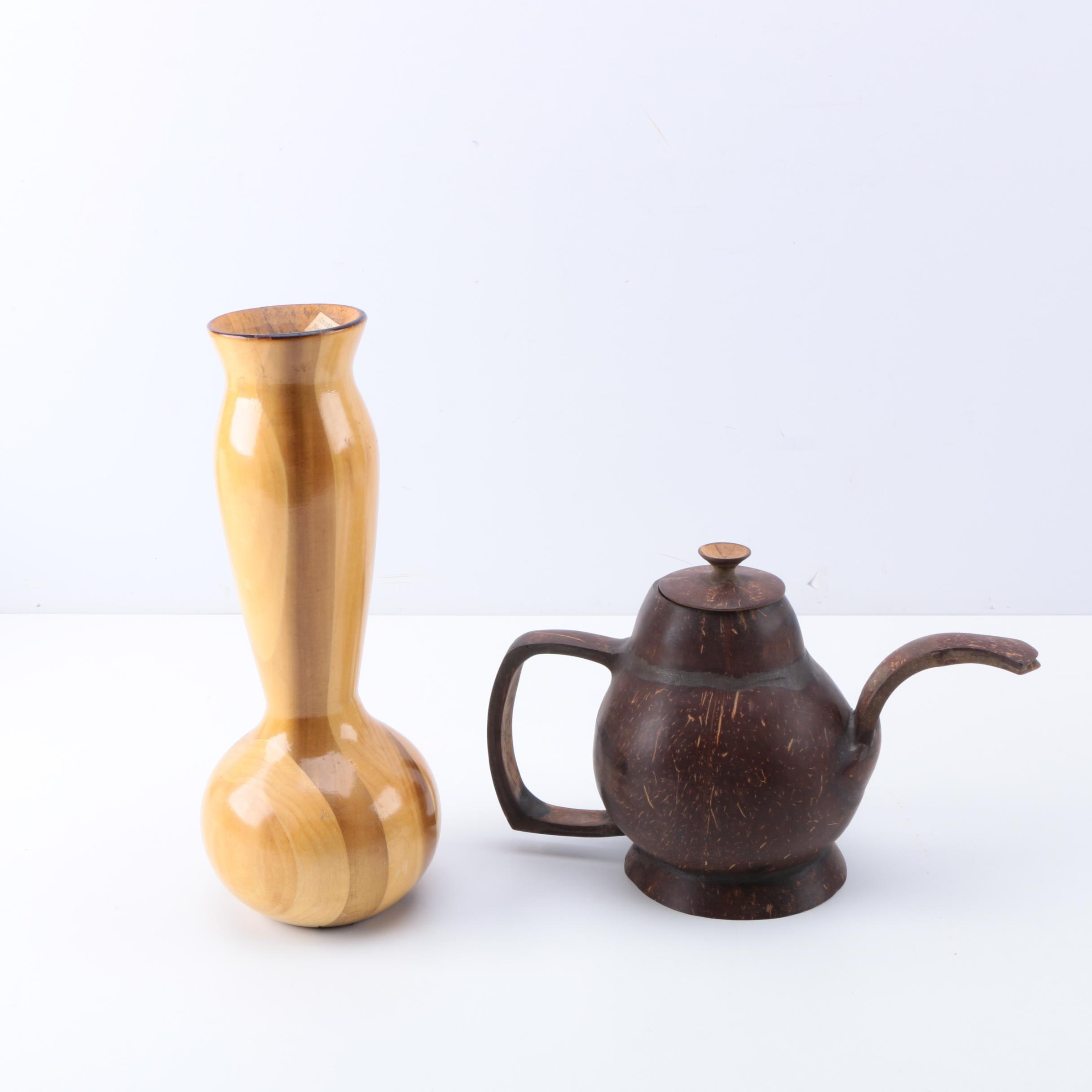 Decorative Carved Wooden Vase and Gourd Teapot