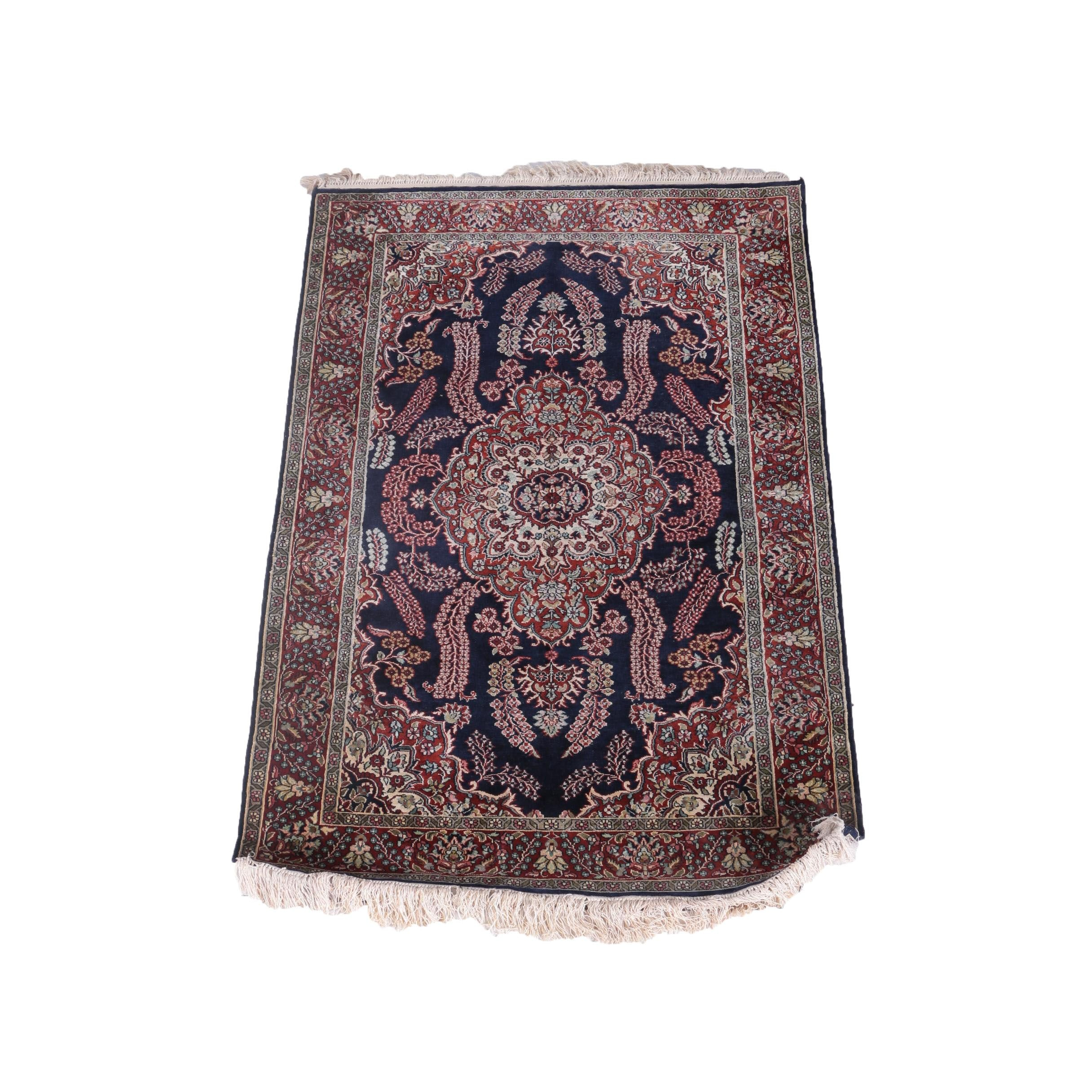 Hand-Knotted Indo-Persian Silk Accent Rug