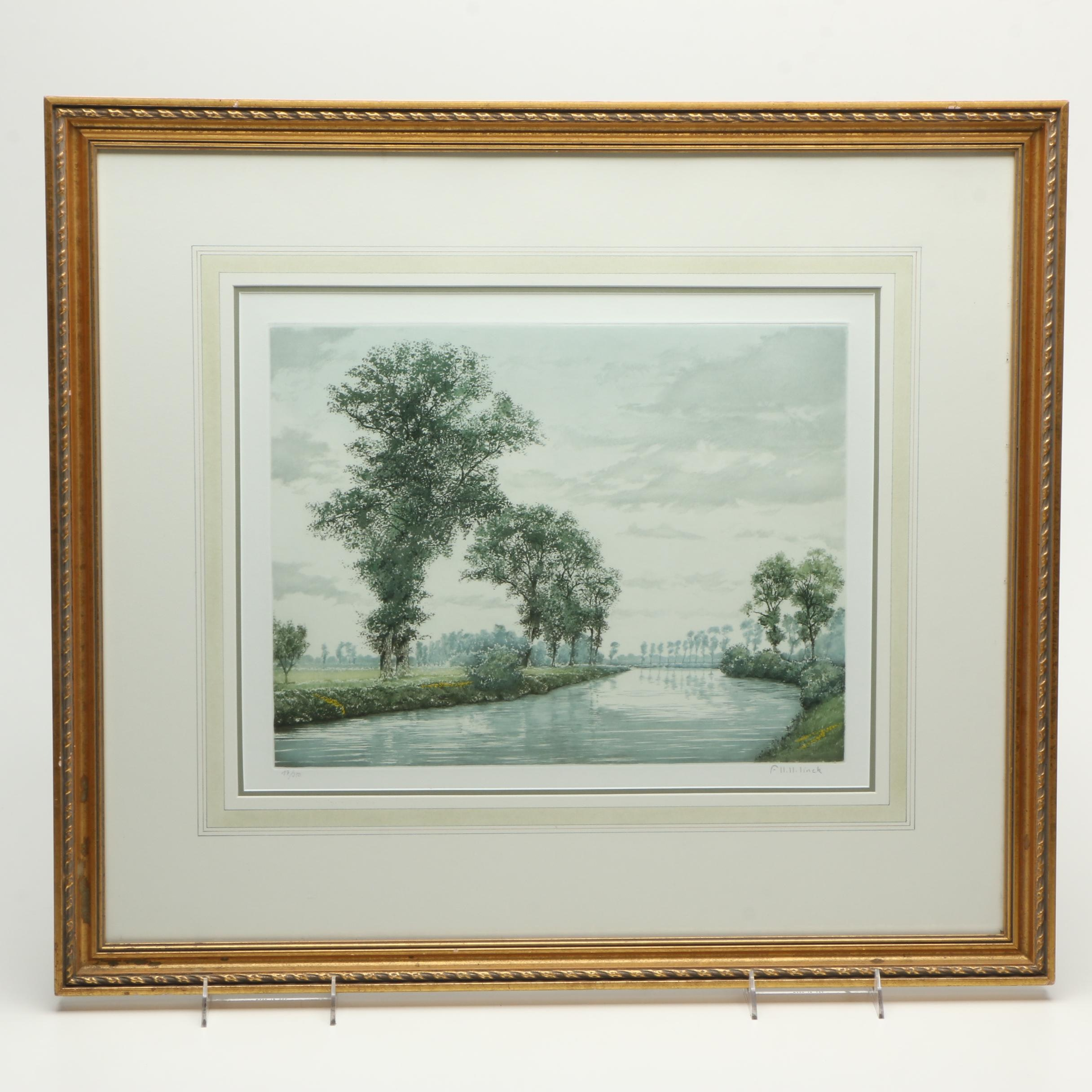 Linck Limited Edition Etching with Aquatint of Tree Lined River Landscape