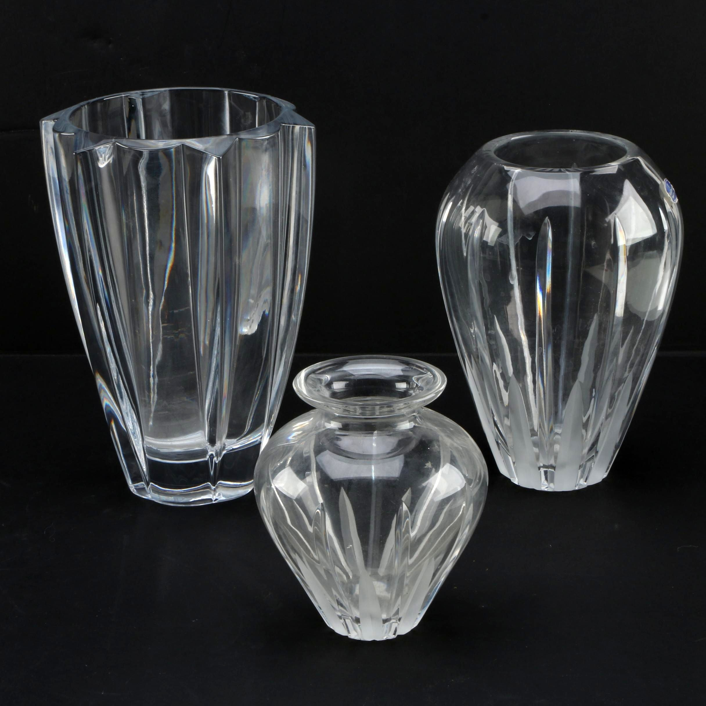 Three Crystal Vases Including Royal Doulton