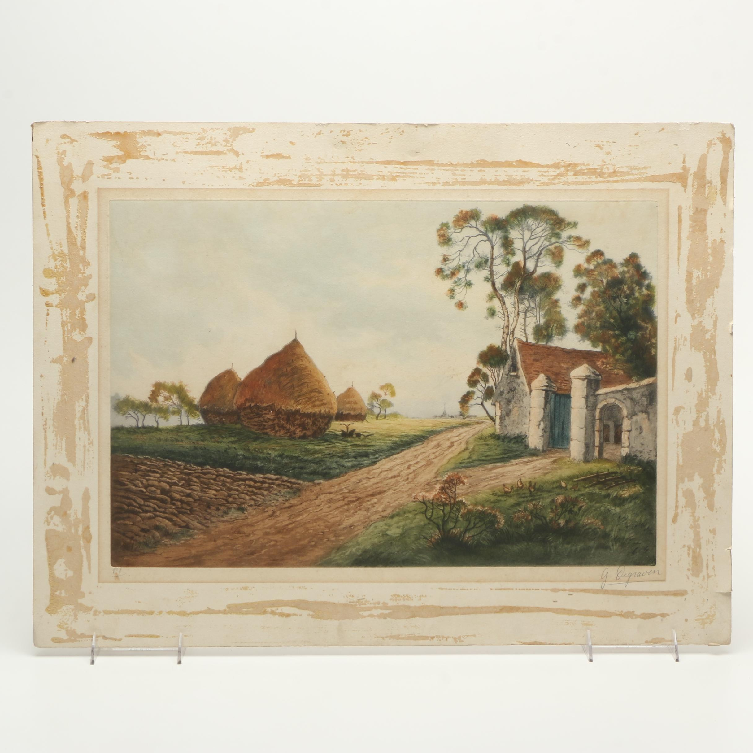 G. Degraven Etching with Aquatint of a Pastoral Landscape