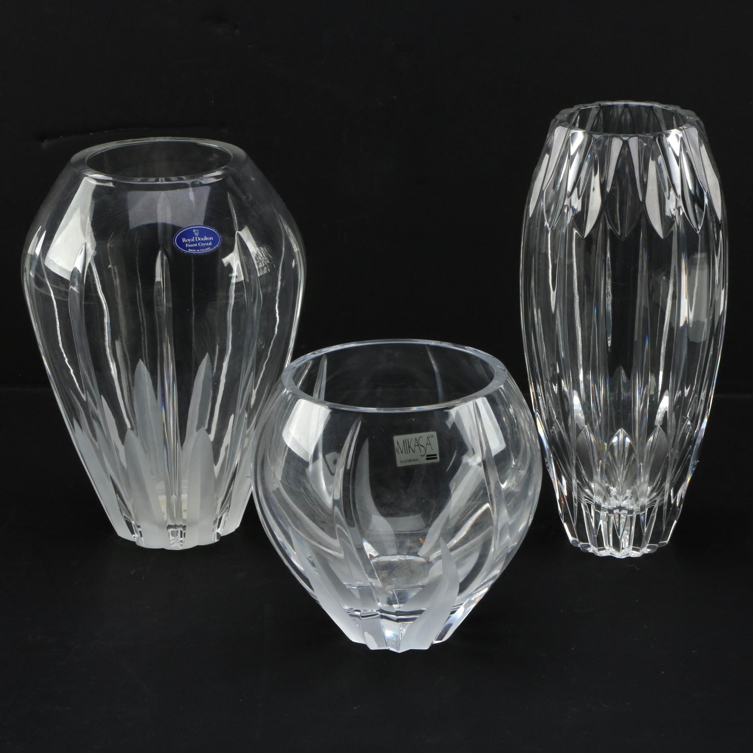 Crystal Vases Featuring Royal Doulton