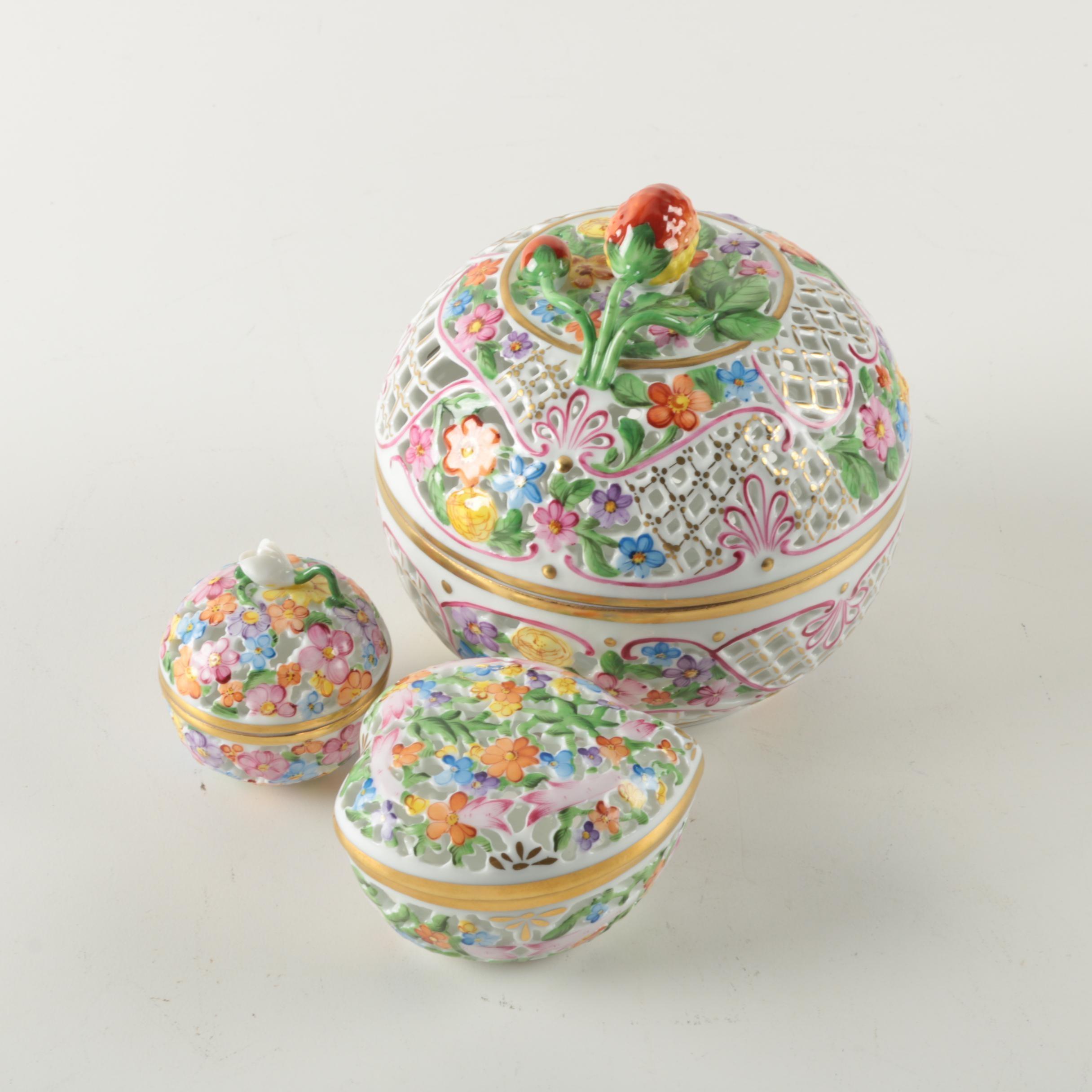 Herend Porcelain Potpourri Boxes