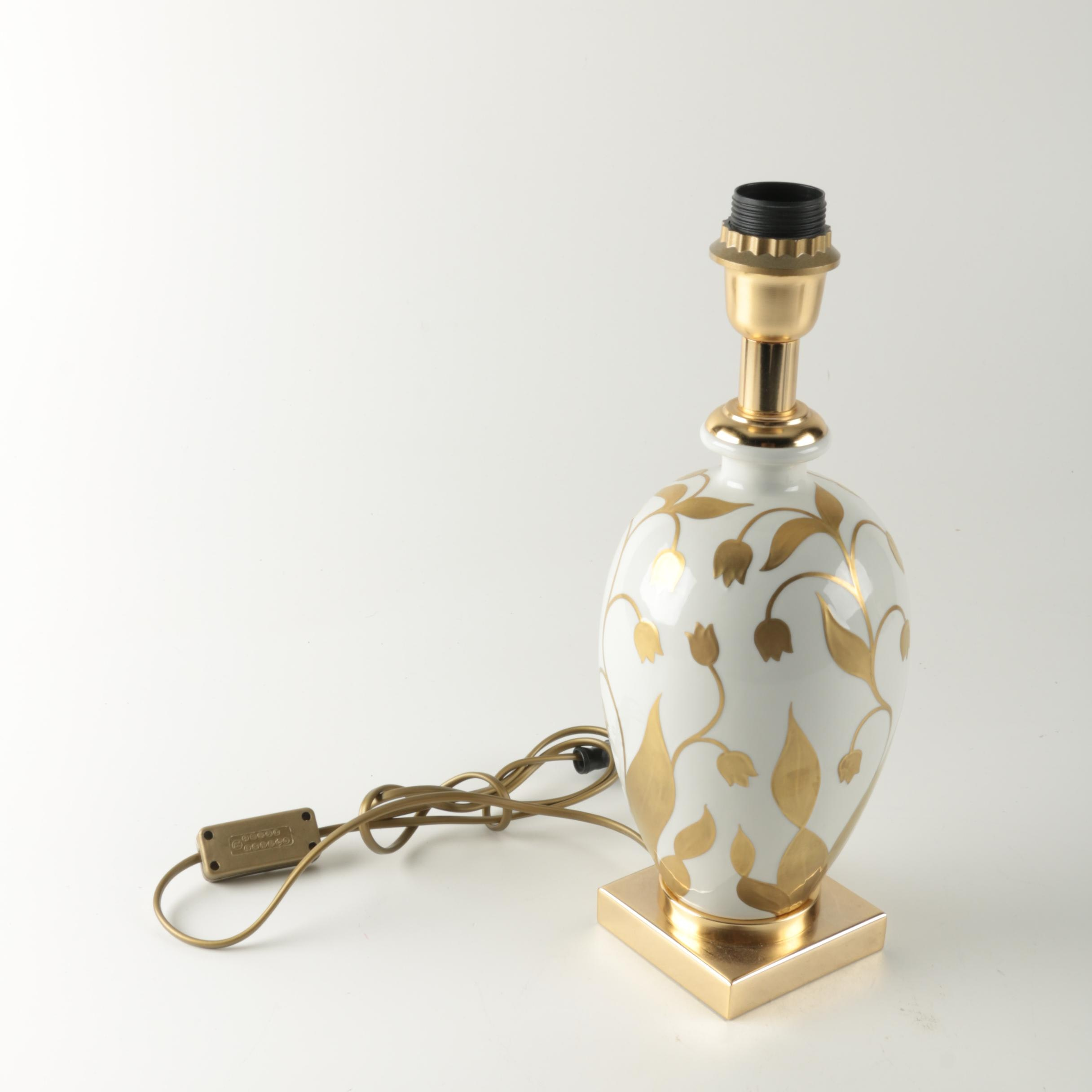 Embossed Gold Floral Lamp
