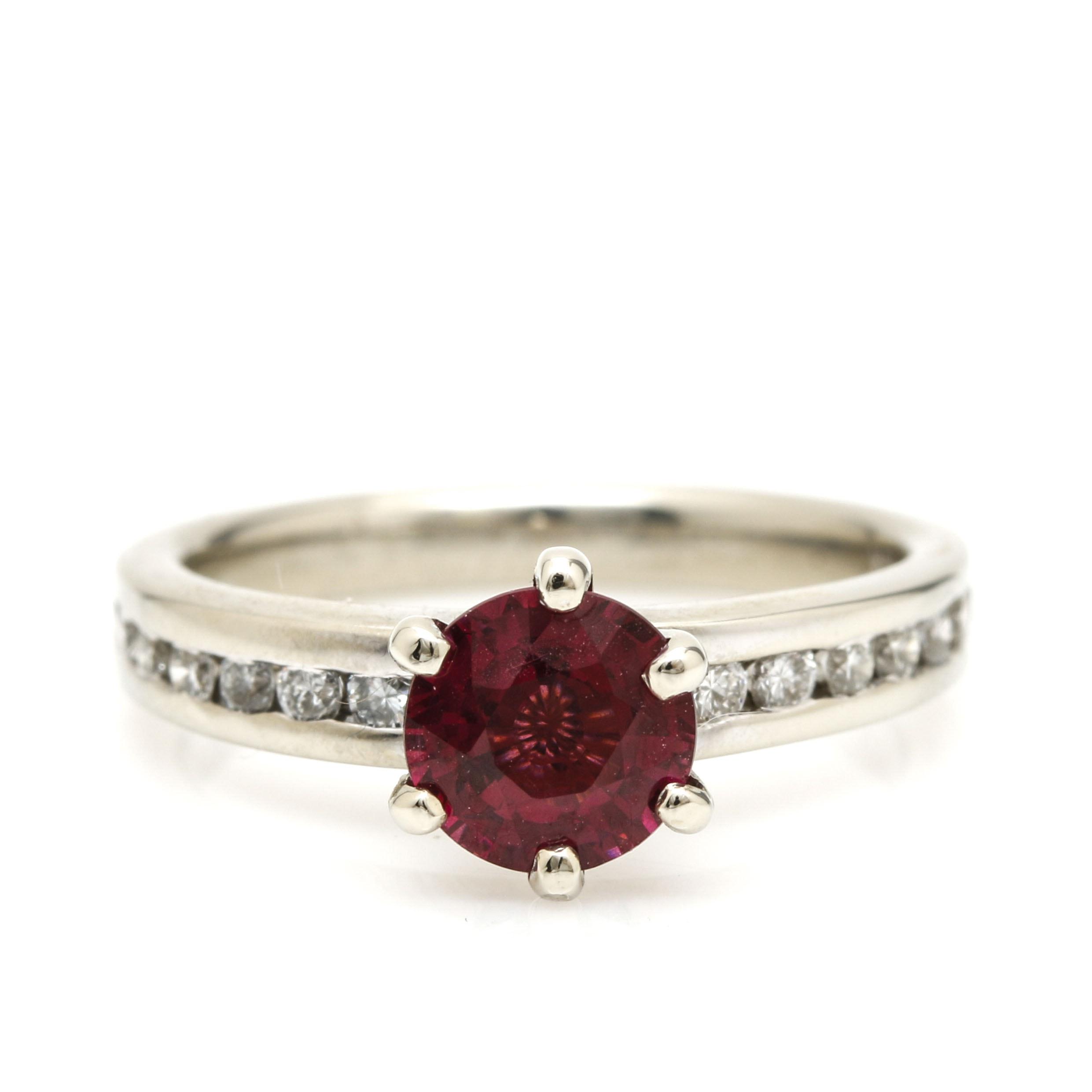 14K White Gold Rhodolite and Diamond Ring