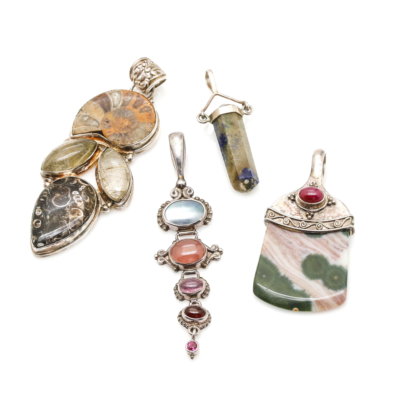 Sterling Silver Pendants Including Sajen