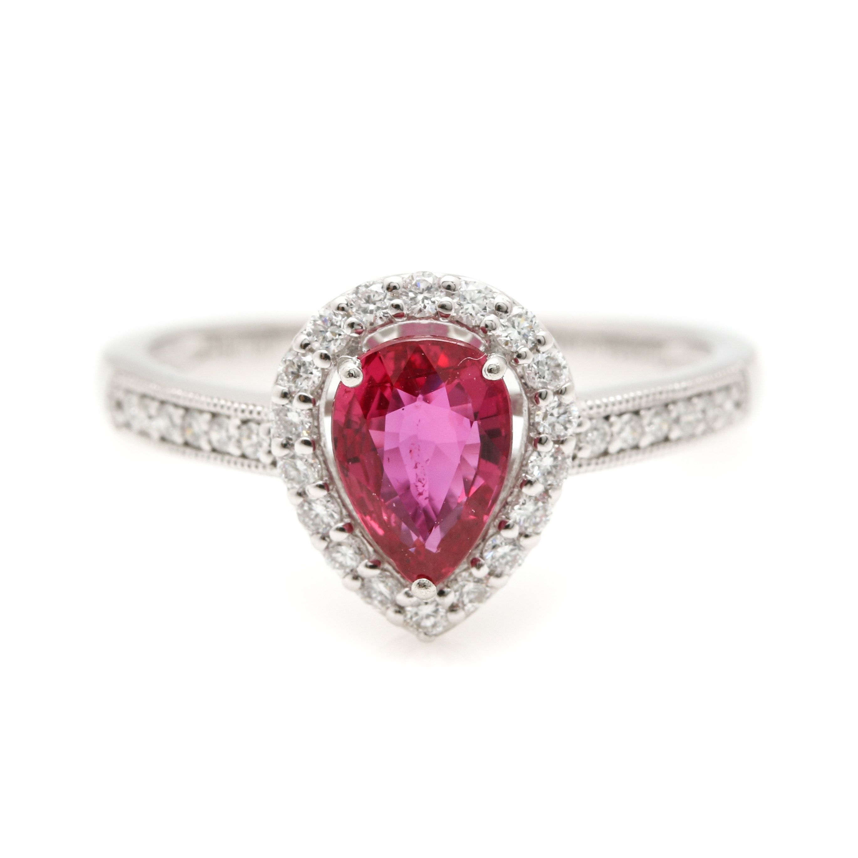 Platinum 1.08 CT Ruby and Diamond Ring Including GIA Certificate