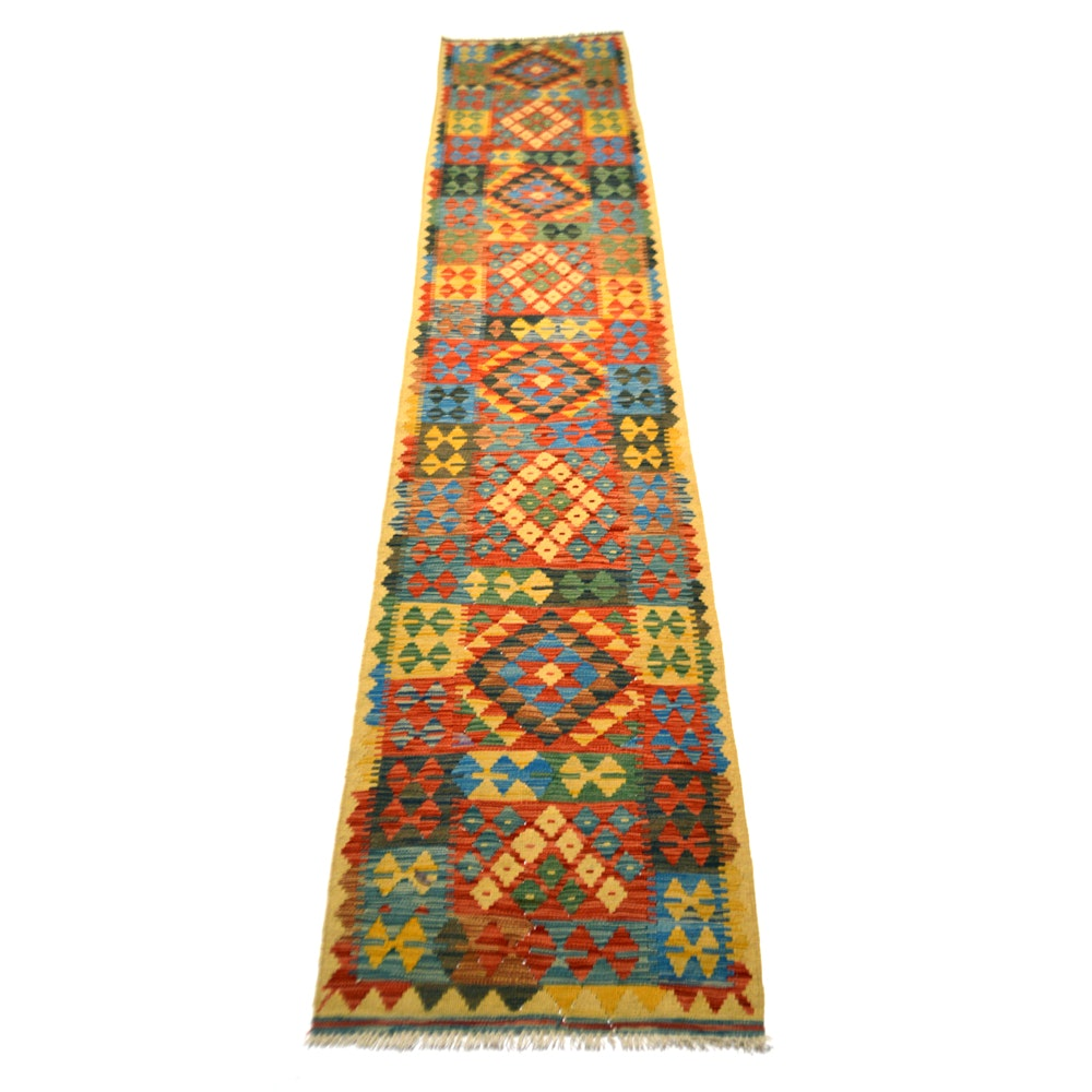 Handwoven Turkish Kilim Wool Runner