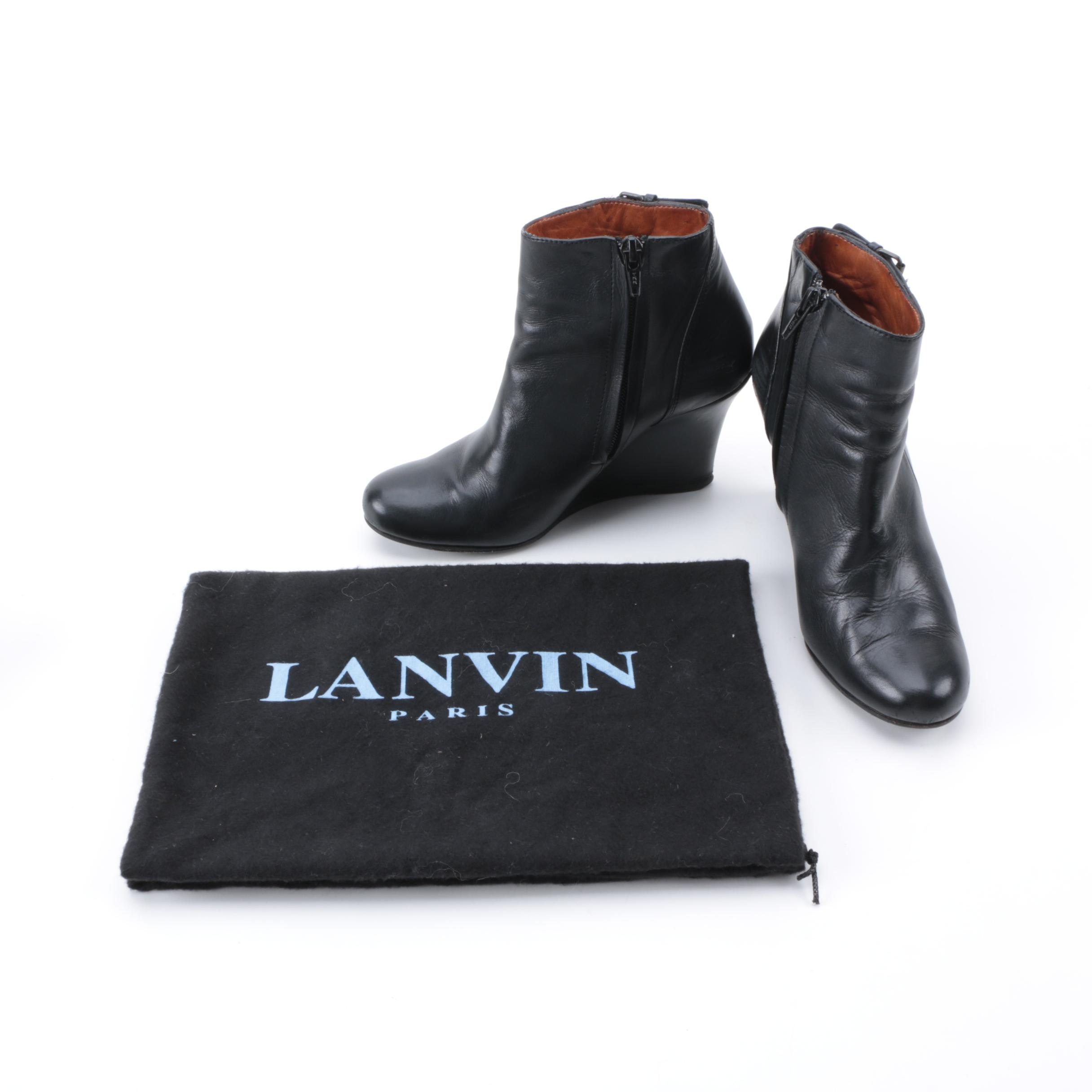 Women's Lanvin Black Leather Wedge Ankle Boots