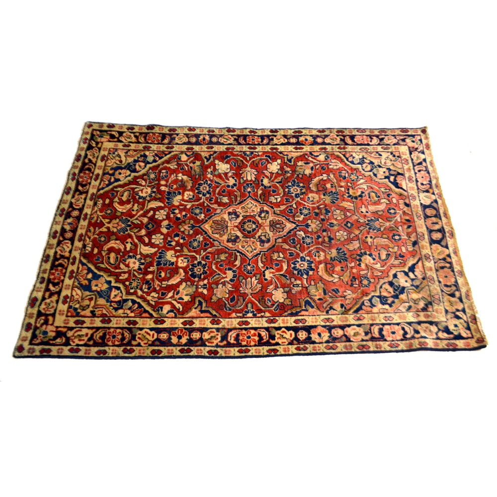 Hand-Knotted Vintage Persian Sarouk Area Rug
