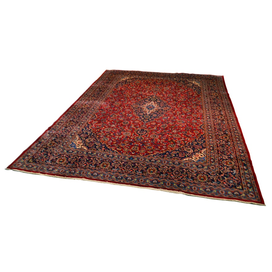 Hand Knotted Persian Kashan Wool Area Rug Ebth: Hand-Knotted Persian Kashan Wool Area Rug