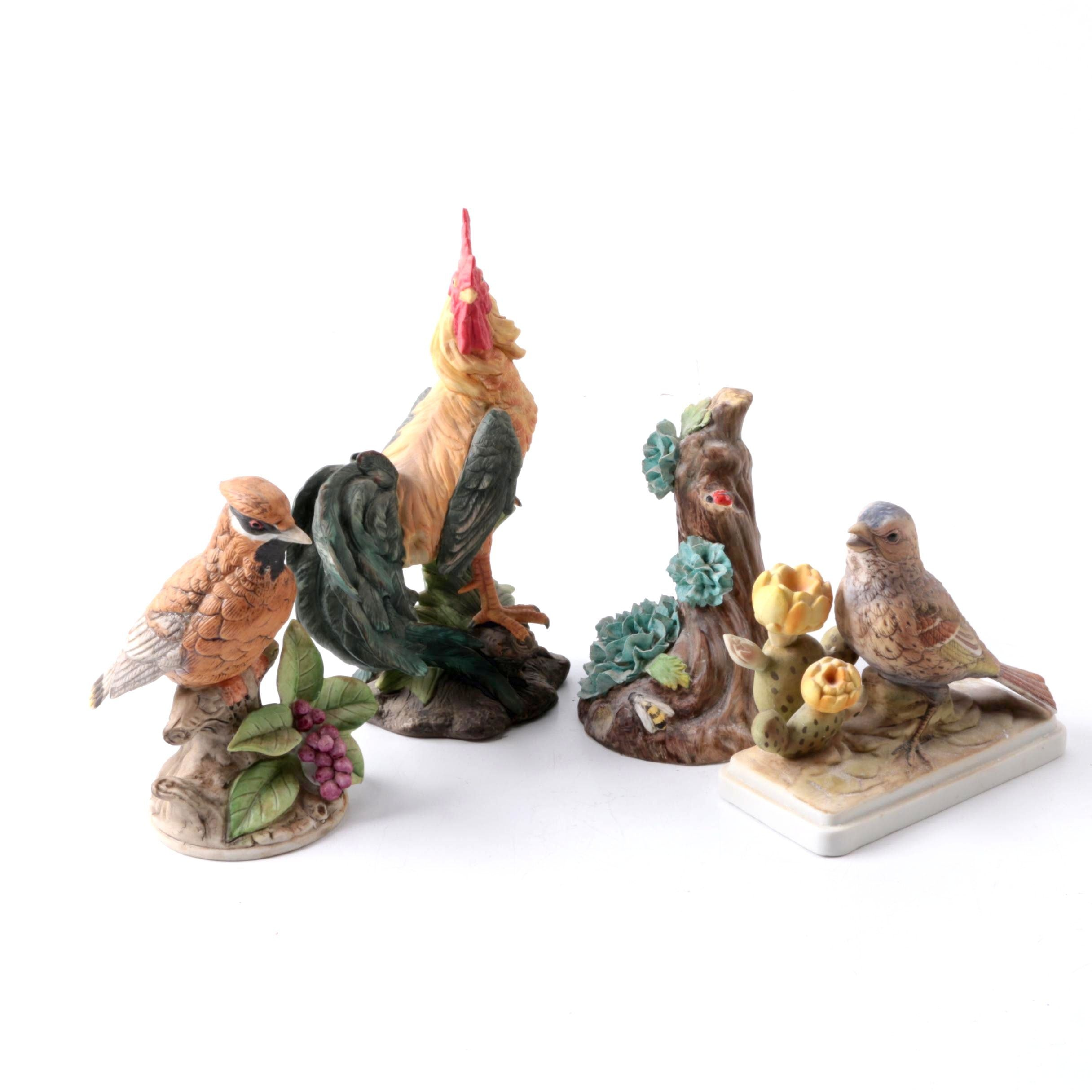 Porcelain Bird Figurines Including Lefton and Aynsley