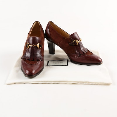 Women's Gucci Brown Leather and Suede Heeled Loafers
