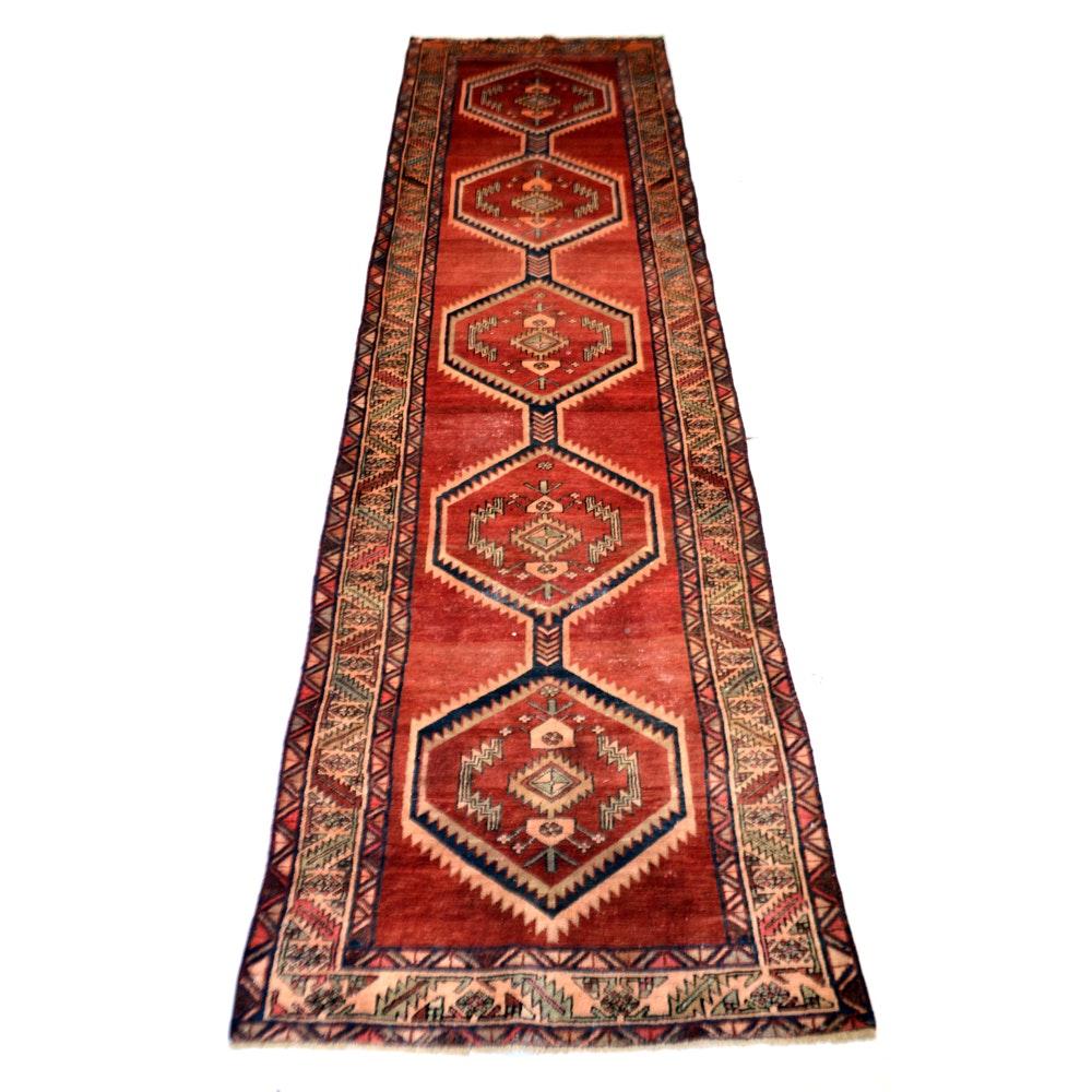 Hand-Knotted Vintage Persian Karaja Heriz Carpet Runner