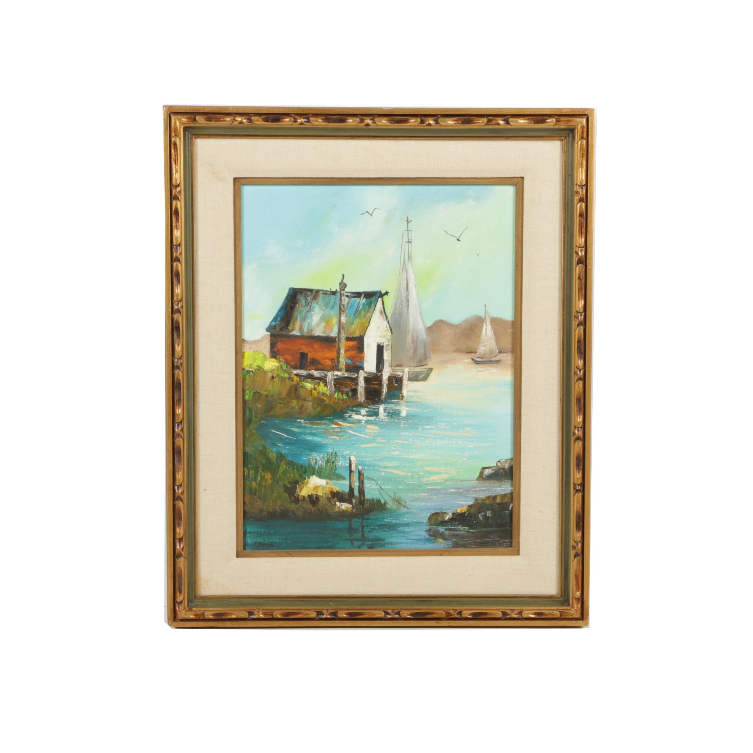 J. Benham Oil Painting of a Sea Scene