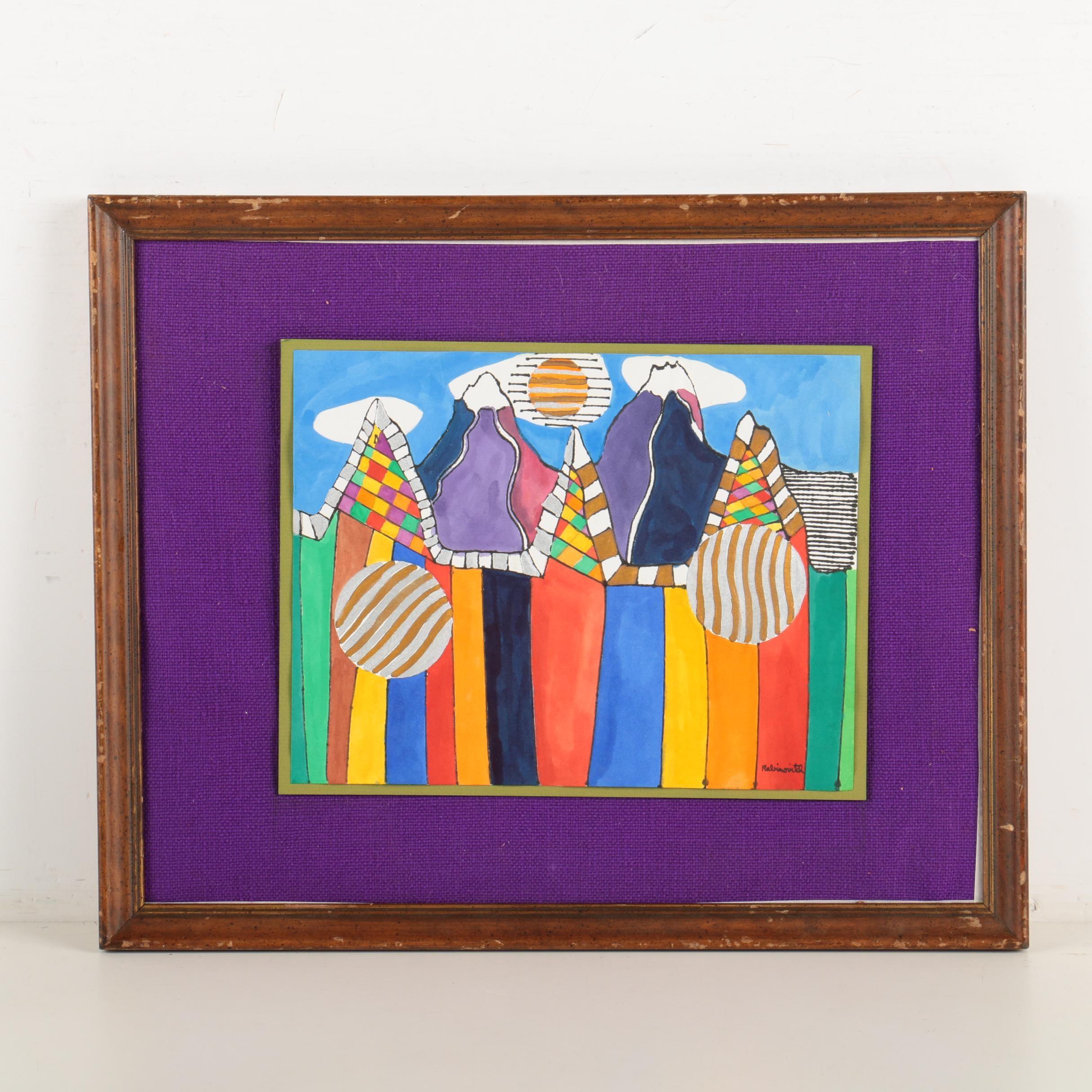 "William Rabinovitch Mixed Media Painting ""Les Alpes"""