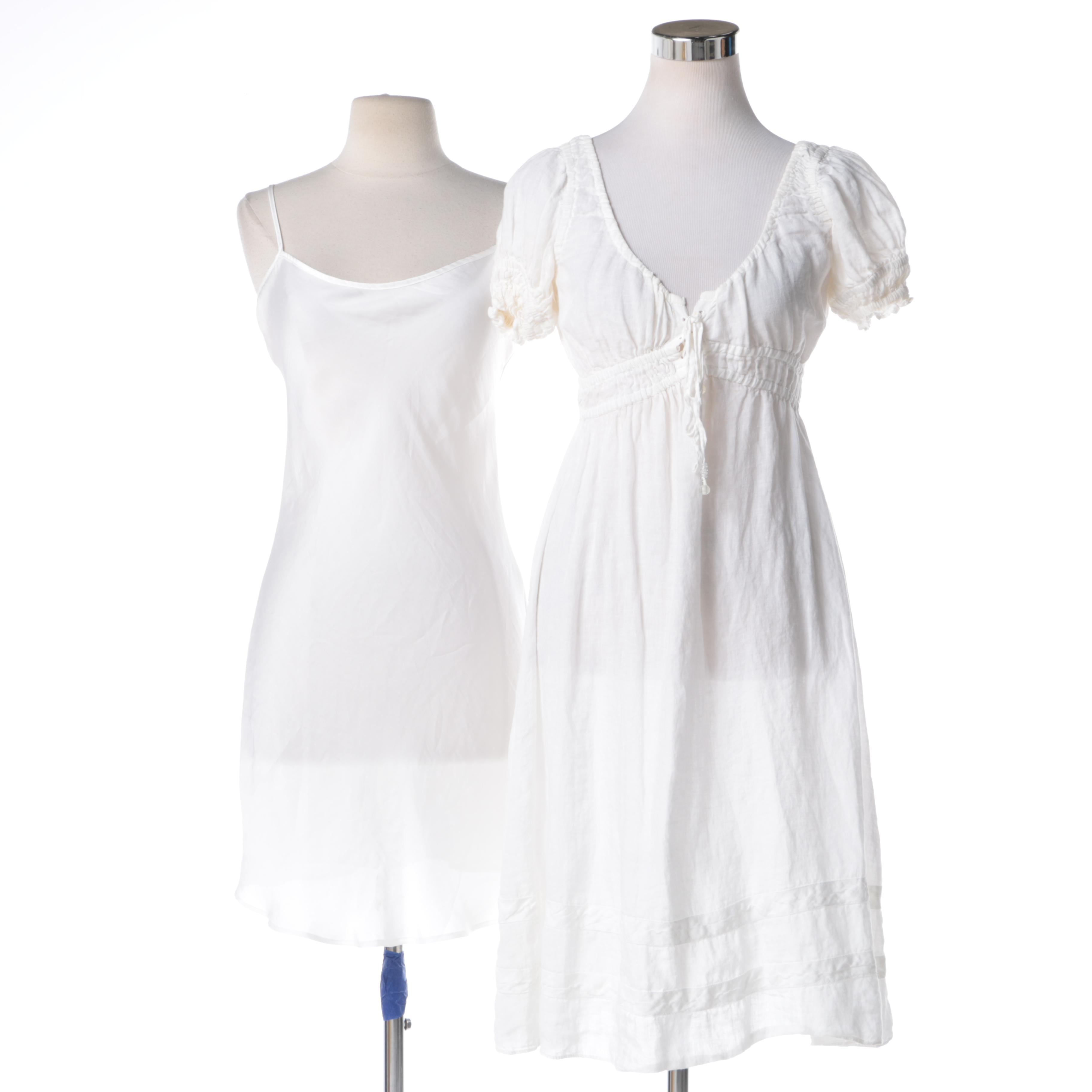 Calypso White Linen Dress and Slip Dress