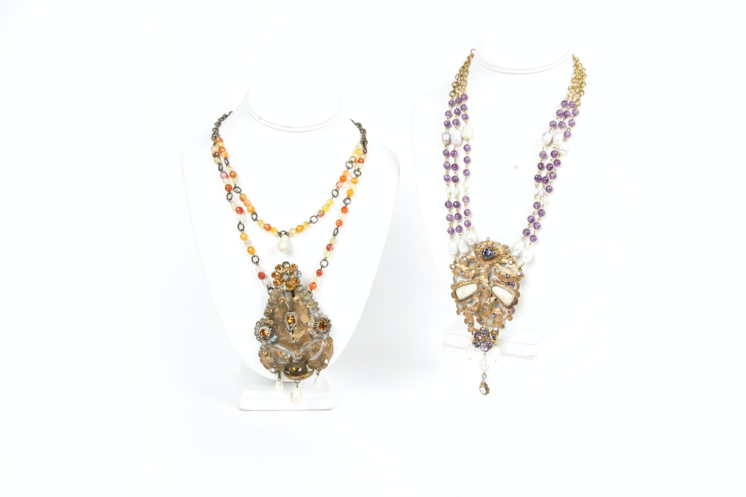 Gemstone and Pearl Statement Necklaces