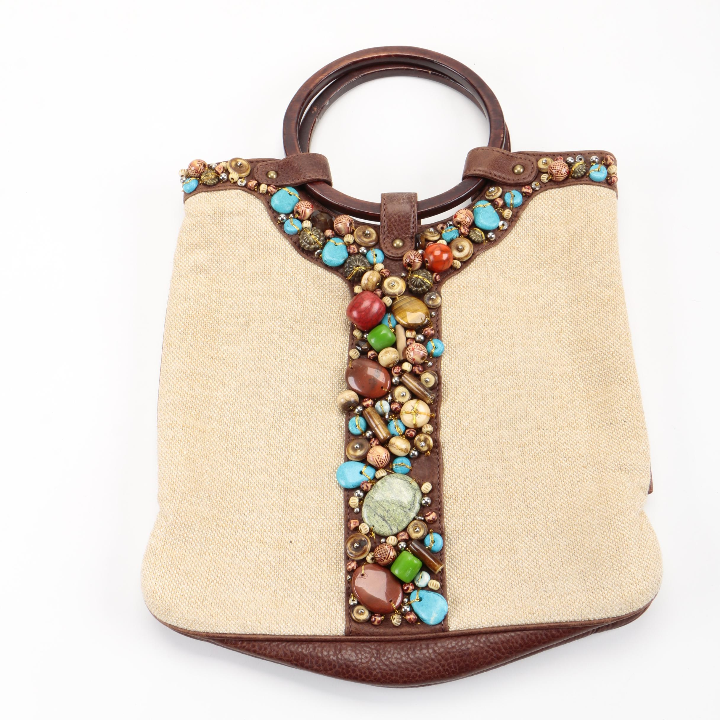 Beaded Burlap and Leather Handbag