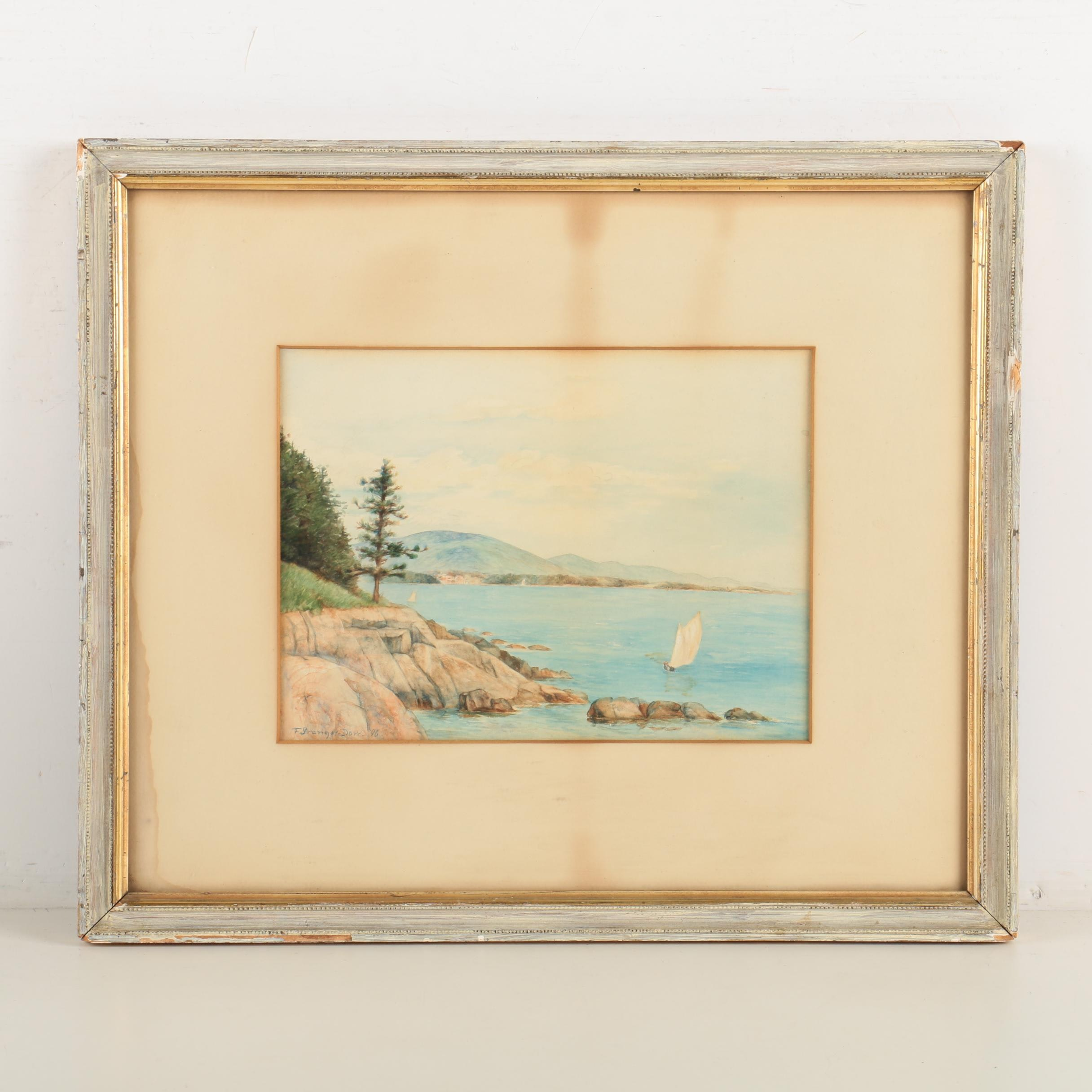 F. Granger Dow Watercolor Painting of Coastal Scene
