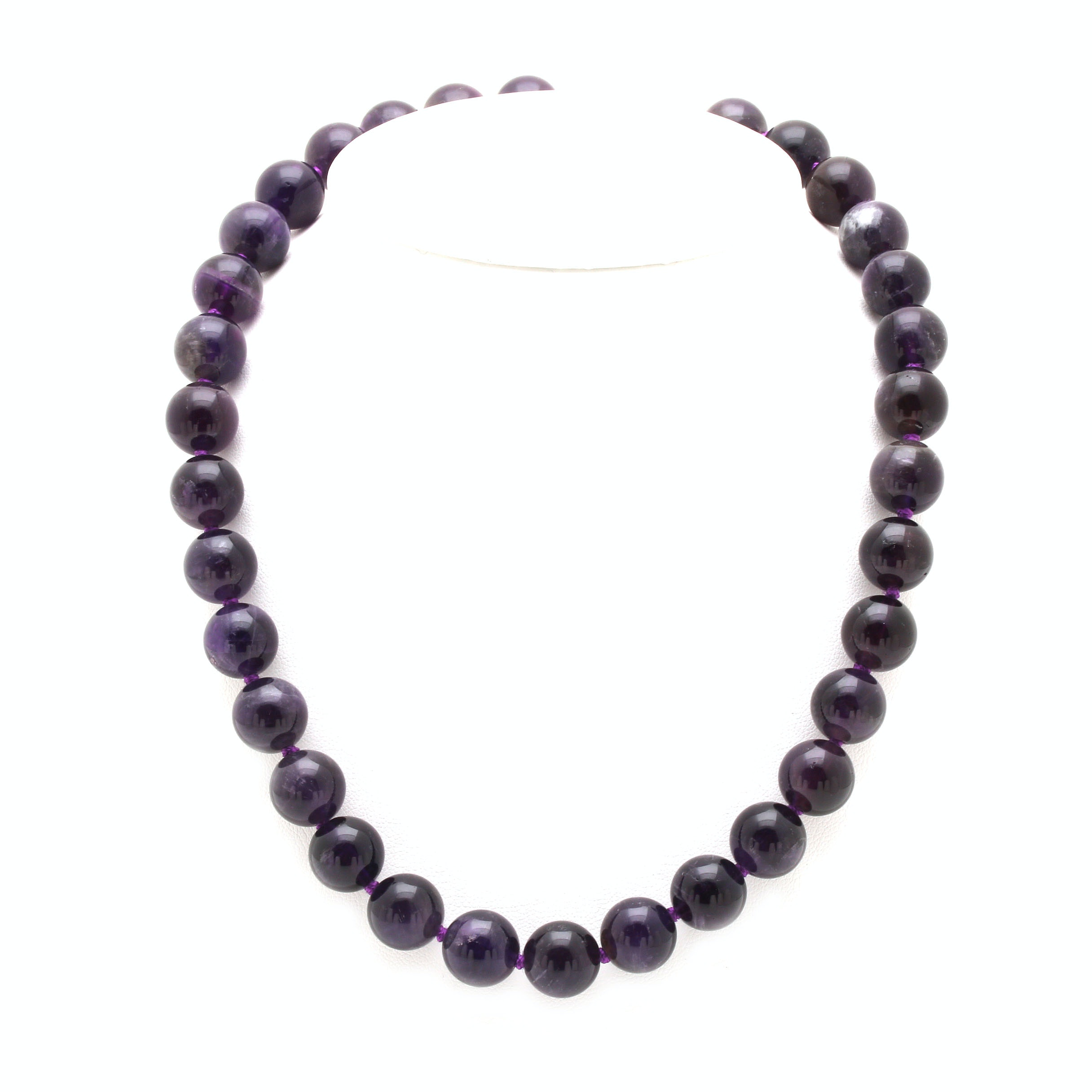 Hand-Knotted 390.00 CTW Amethyst Beaded Necklace with a Sterling Silver Clasp