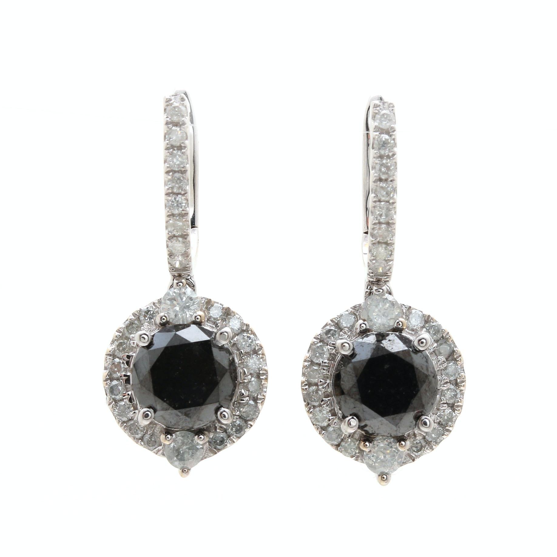 14K White Gold 3.51 CTW Diamond Dangle Earrings