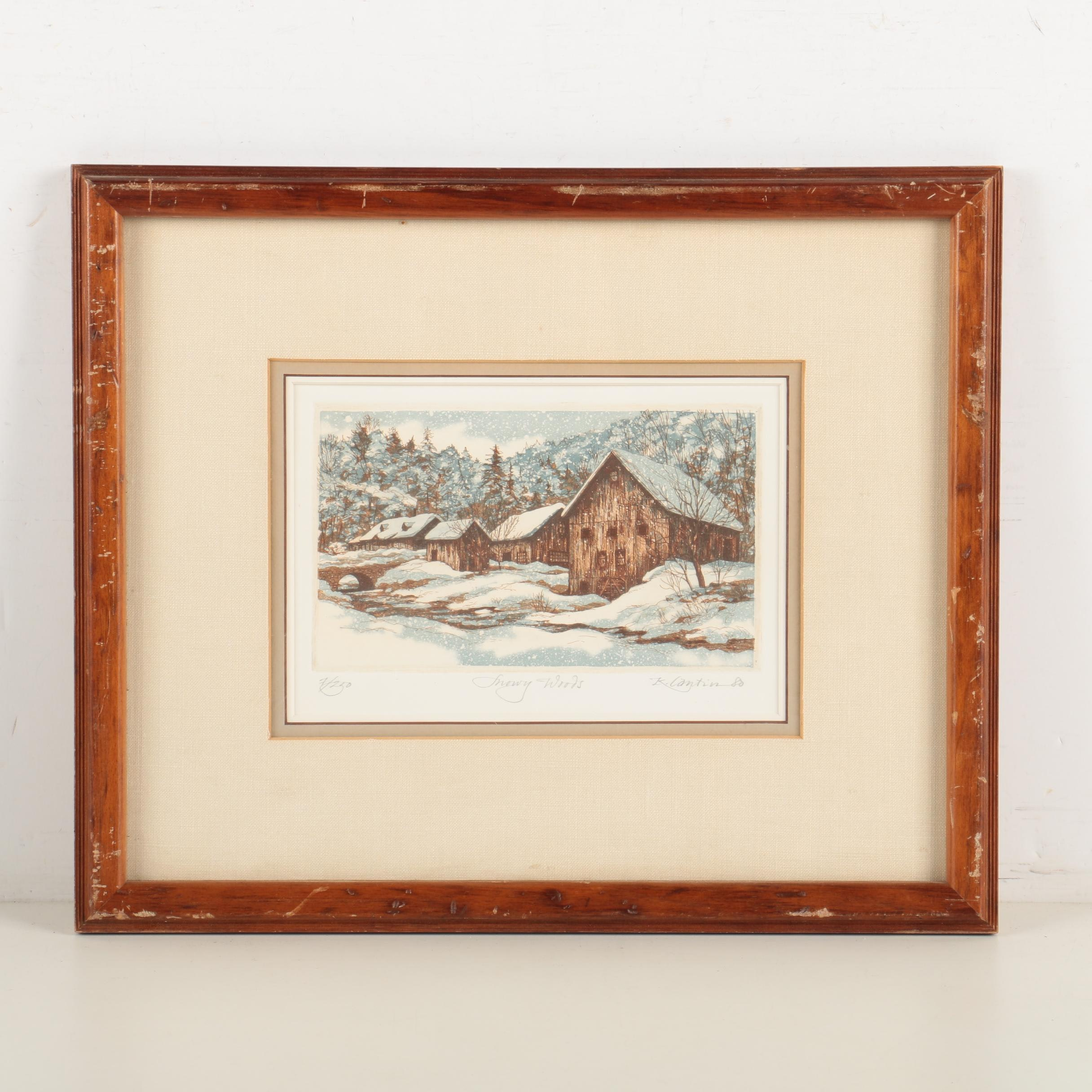 """Kathleen Cantin Limited Edition Aquatint Etching """"Snowy Woods"""""""