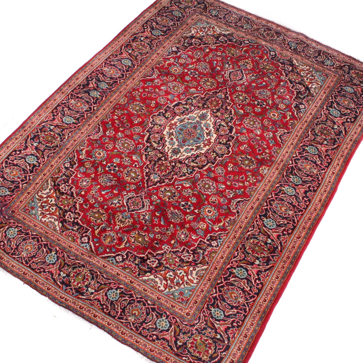 8' x 11' Hand-Knotted Persian Kashan Room Size Rug