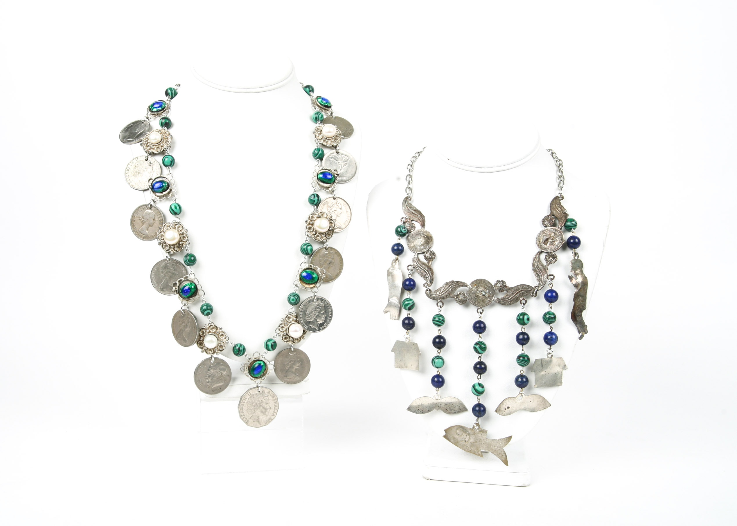 Milagro, Coin, Lapis Lazuli, and Pearl Necklaces