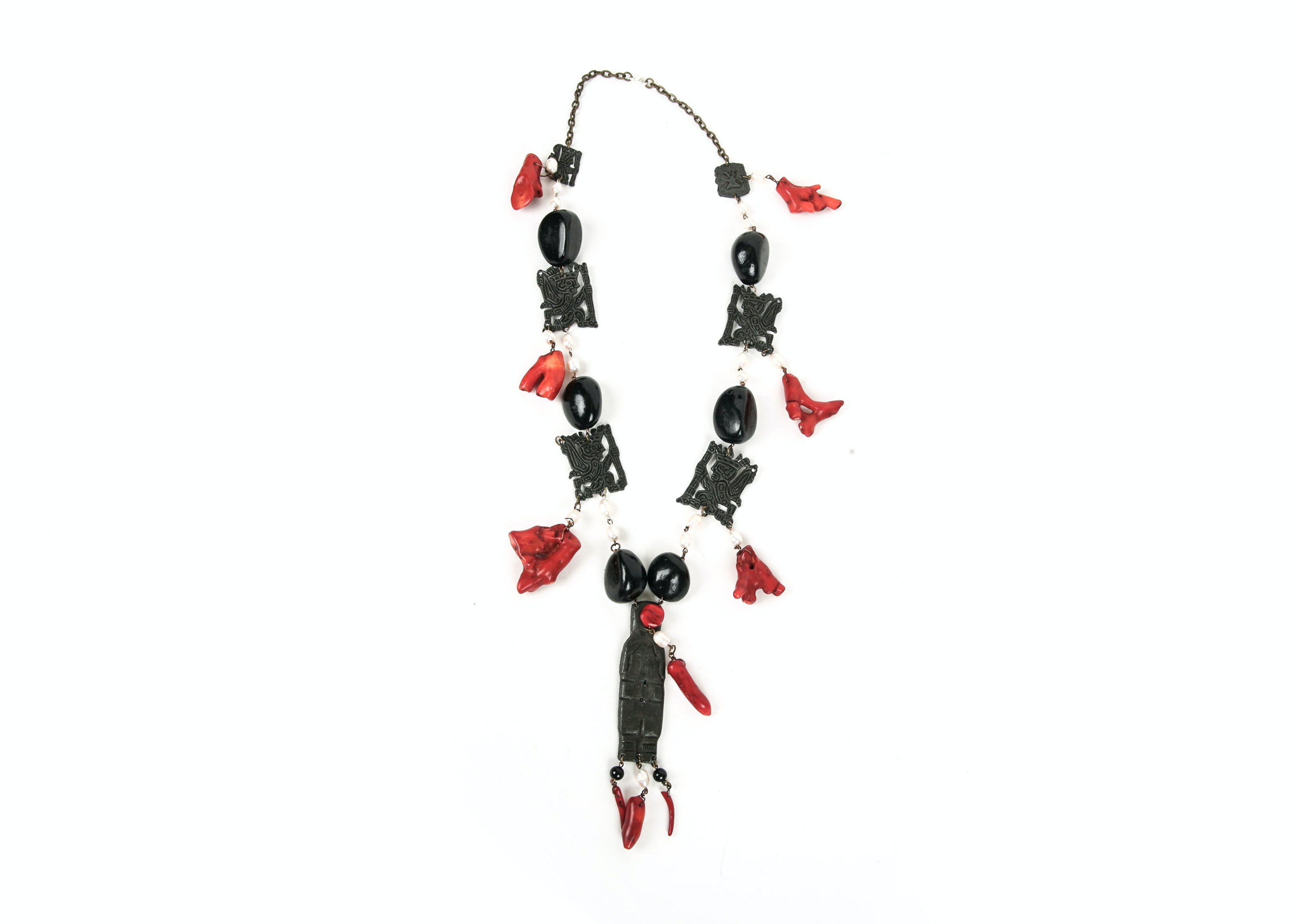 Heavy Coral, Cultured Pearl, and Pendant Necklace