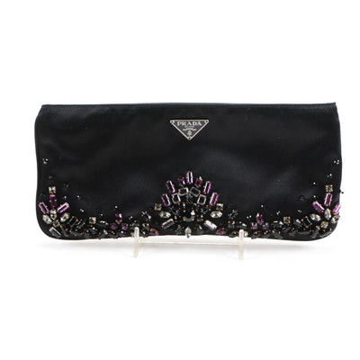 Prada Black Satin Clutch with Rhinestone Embellishments