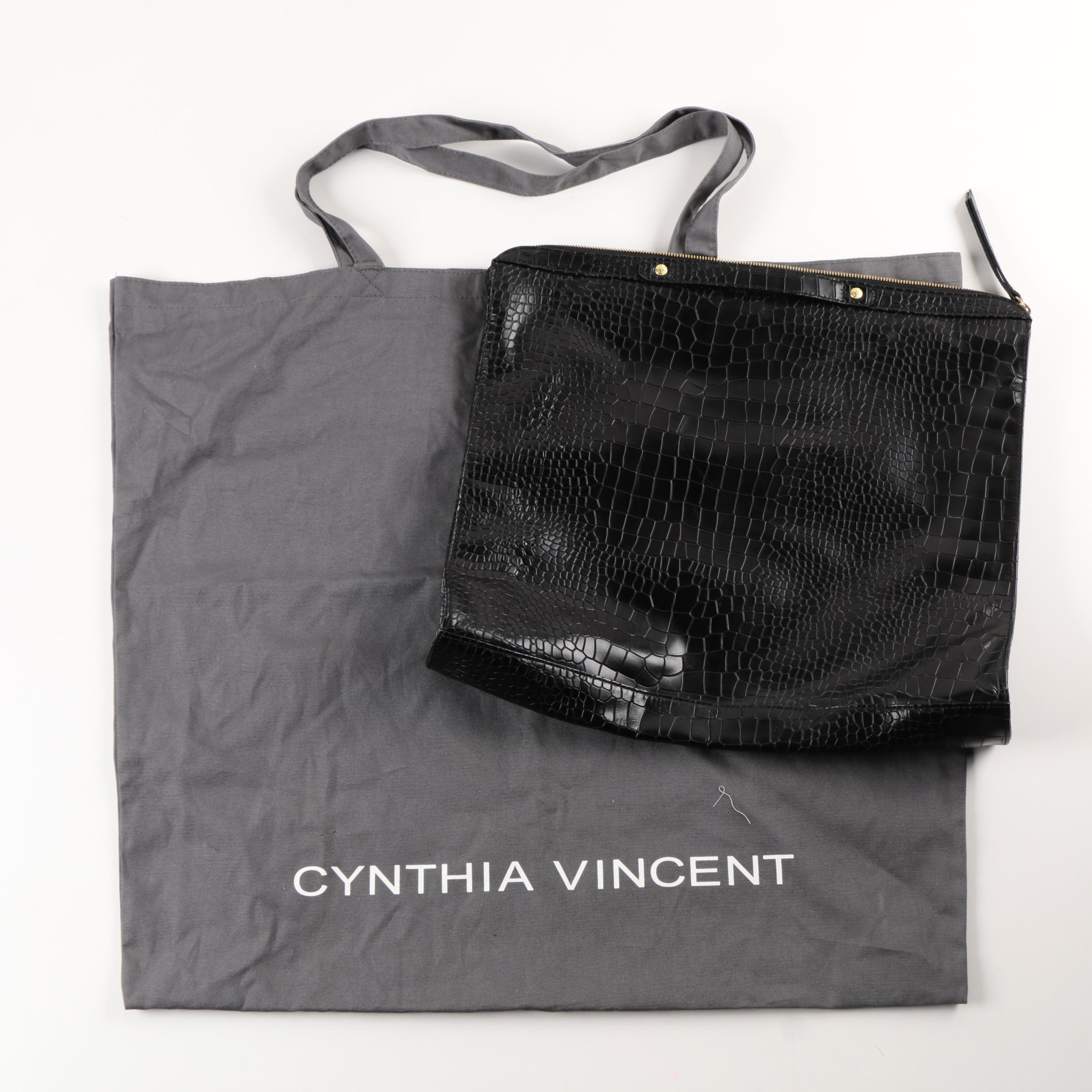 Cynthia Vincent Tote and Embossed Leather Clutch