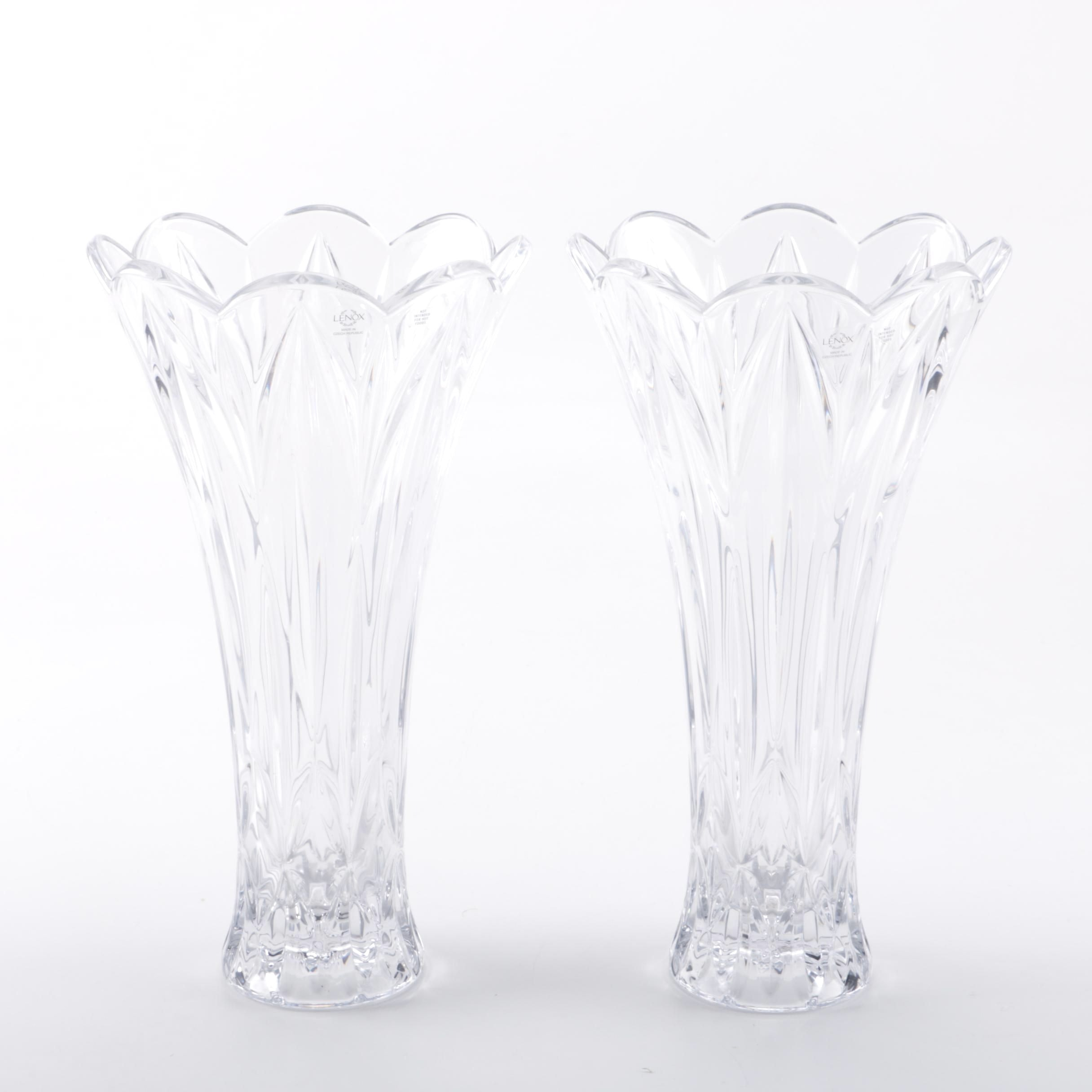 sc 1 st  Everything But The House & Pair of Lenox Cut Crystal Flower Vases : EBTH