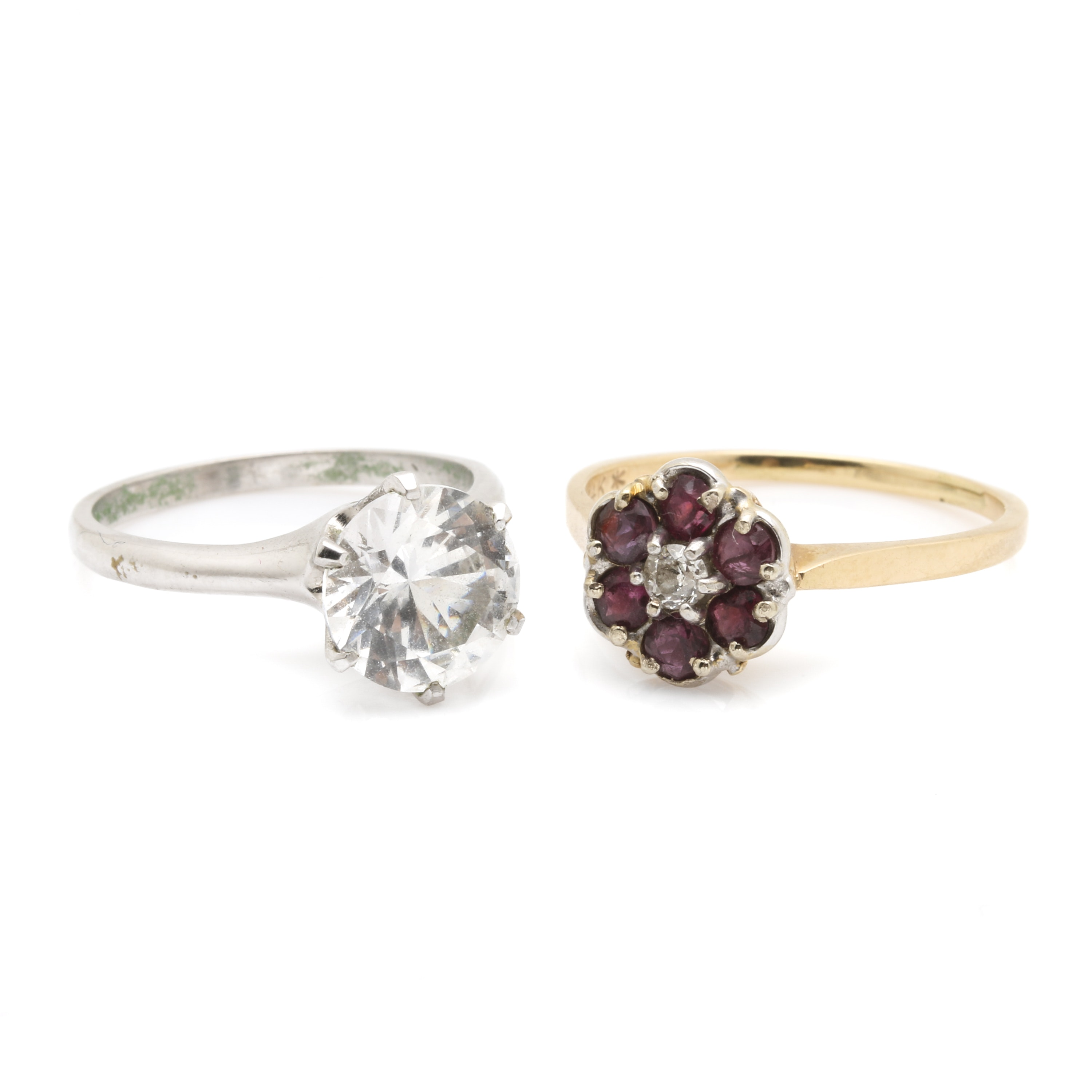 14K White and Yellow Gold Gemstone Rings Including Diamond