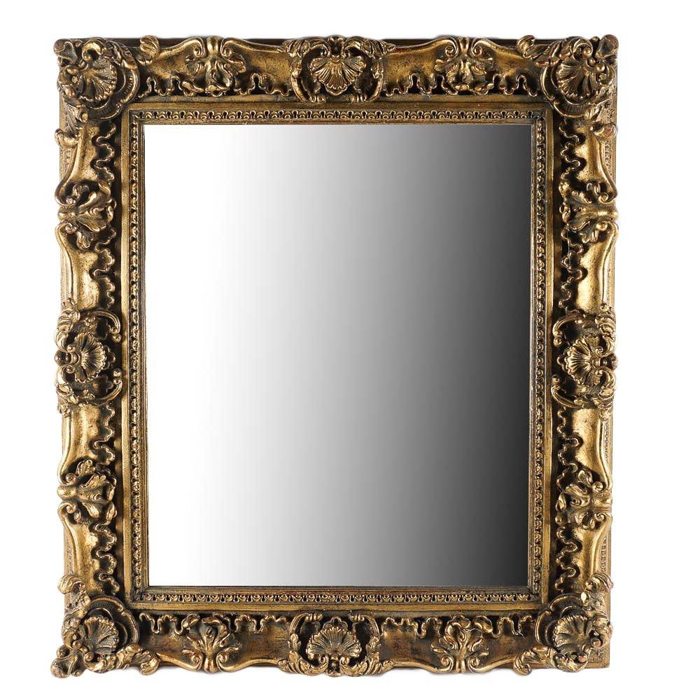 Ornate Gold Tone Framed Wall Mirror
