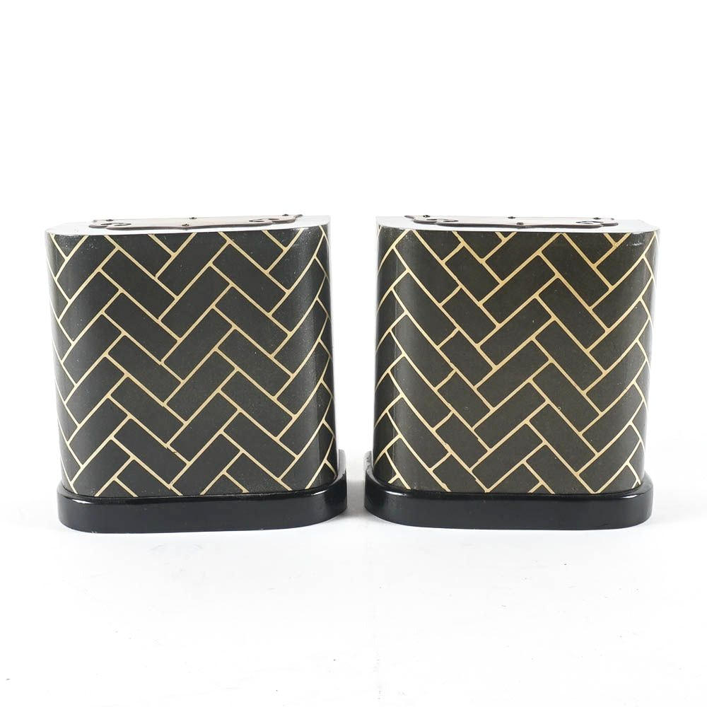 Contemporary Black and Gold Wooden Bookends
