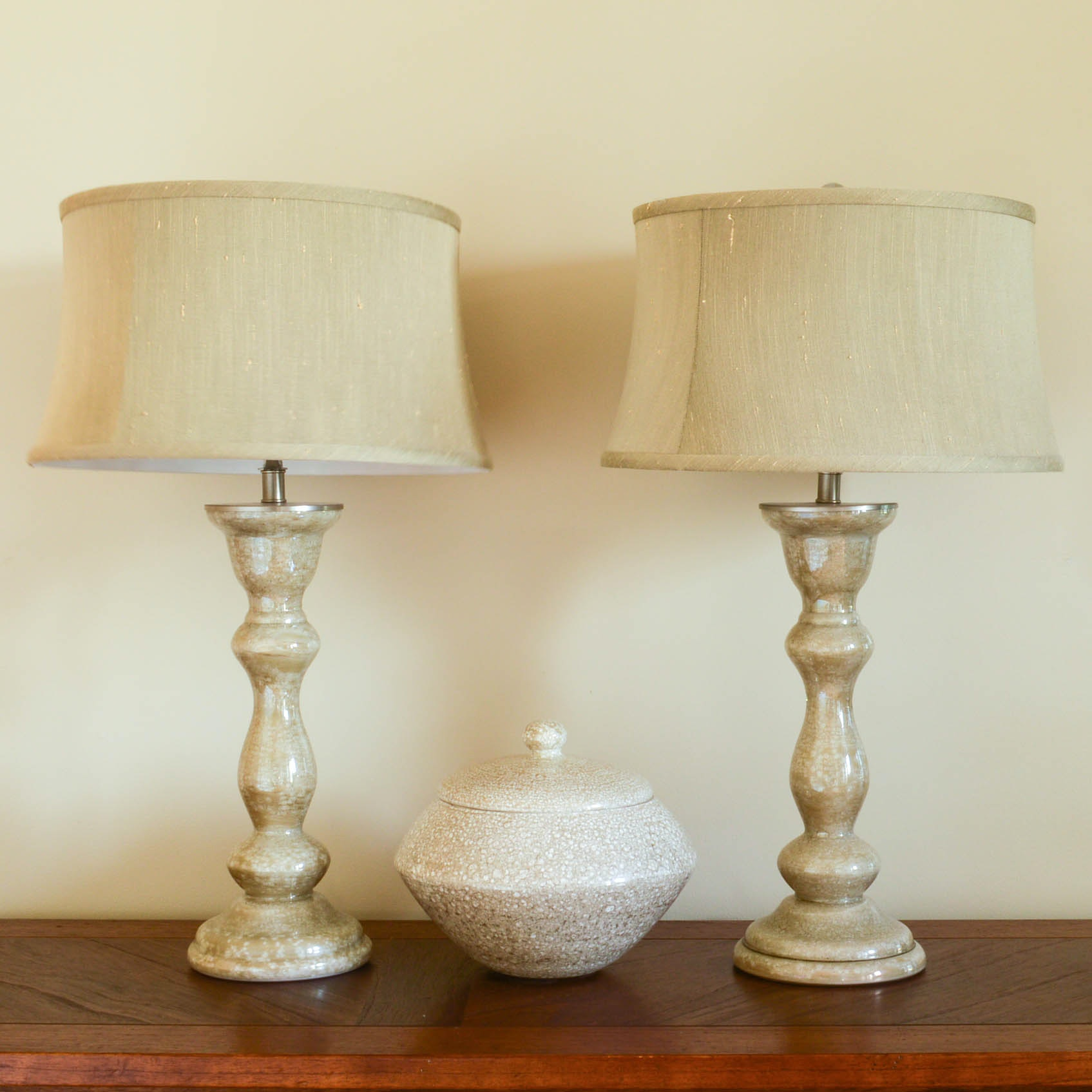 Pair of Ceramic Table Lamps and Lidded Cachepot