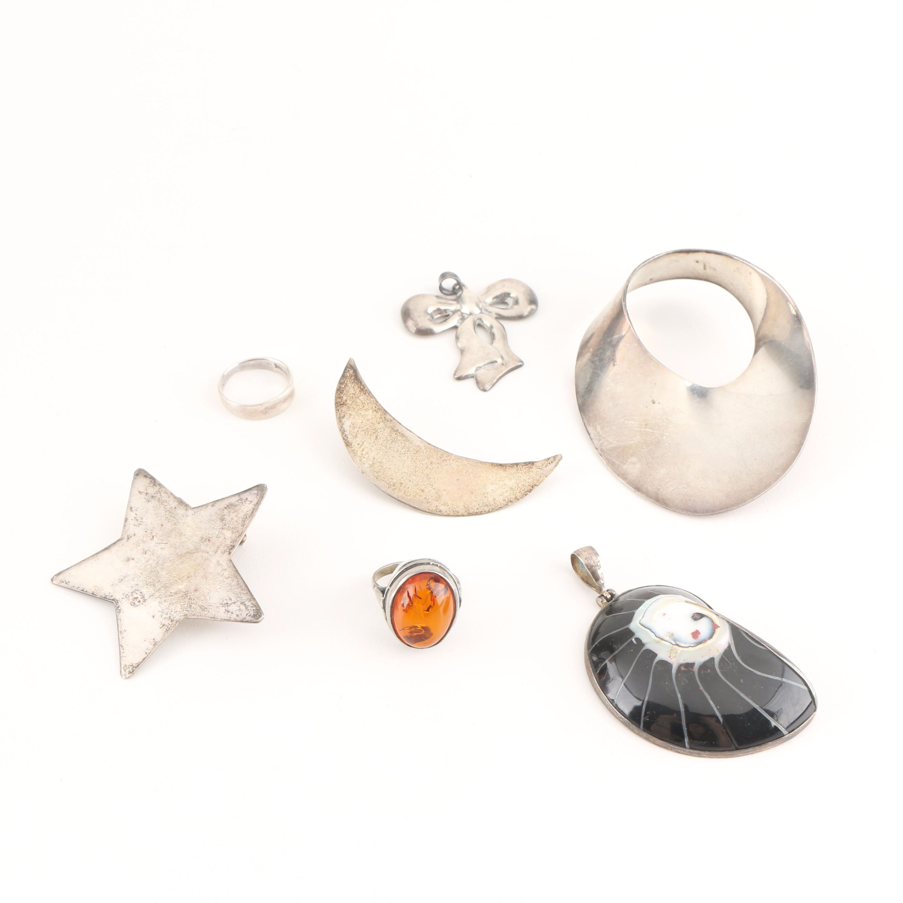 Sterling Silver Jewelry Including Amber Ring