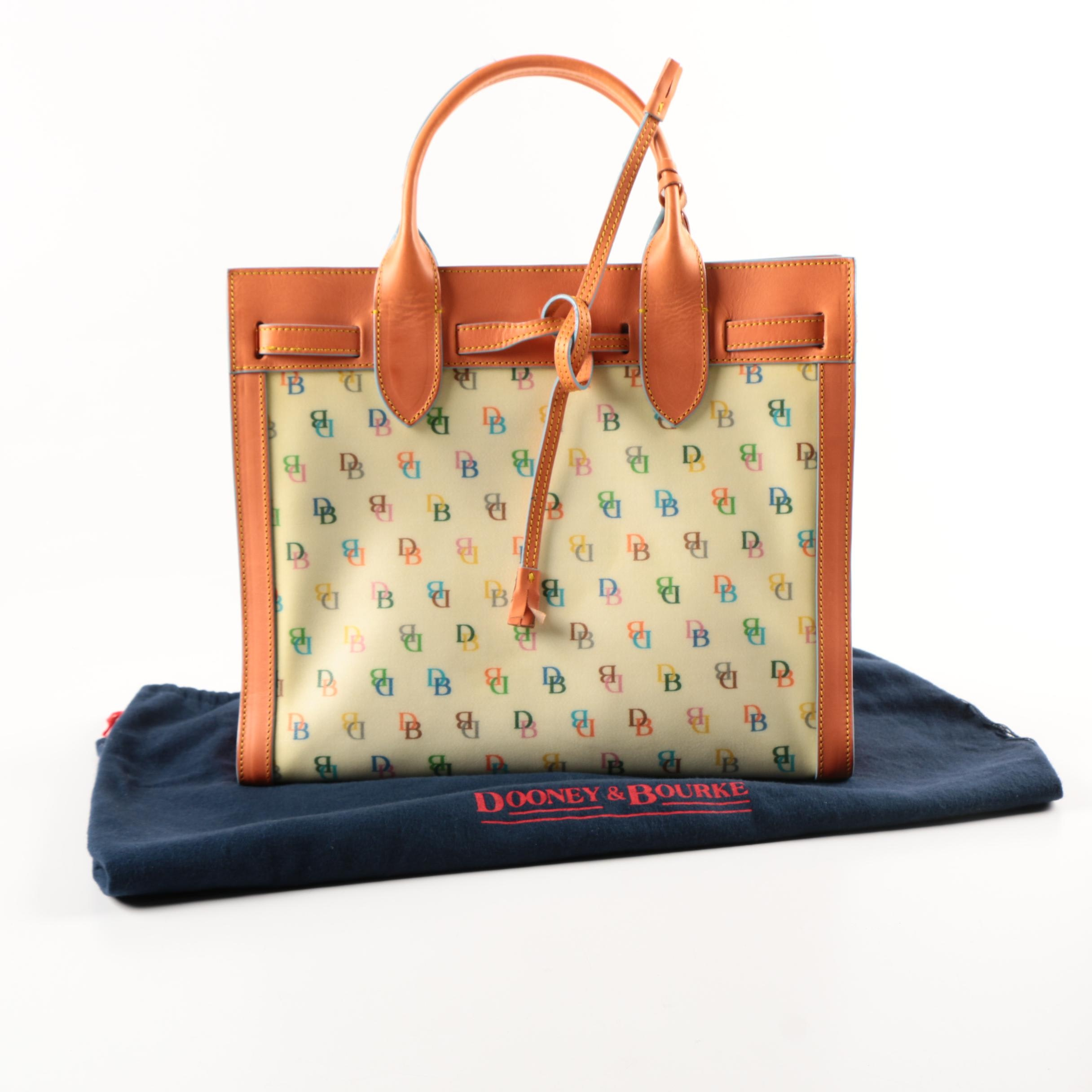 Dooney & Bourke Coated Canvas Tote with Salmon Leather Trim