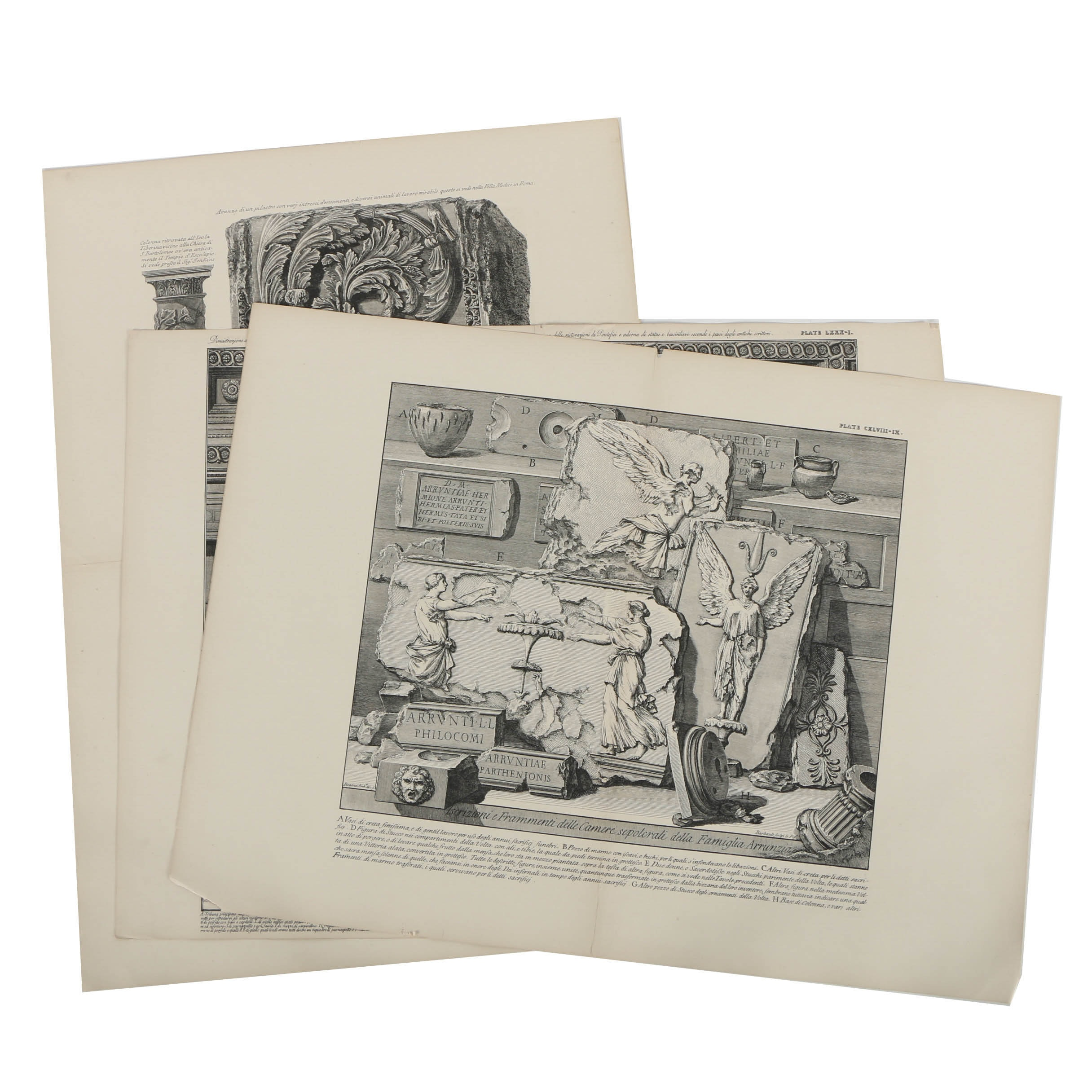 Collection of Lithographs after Giovanni Piranesi's Etchings of Architecture