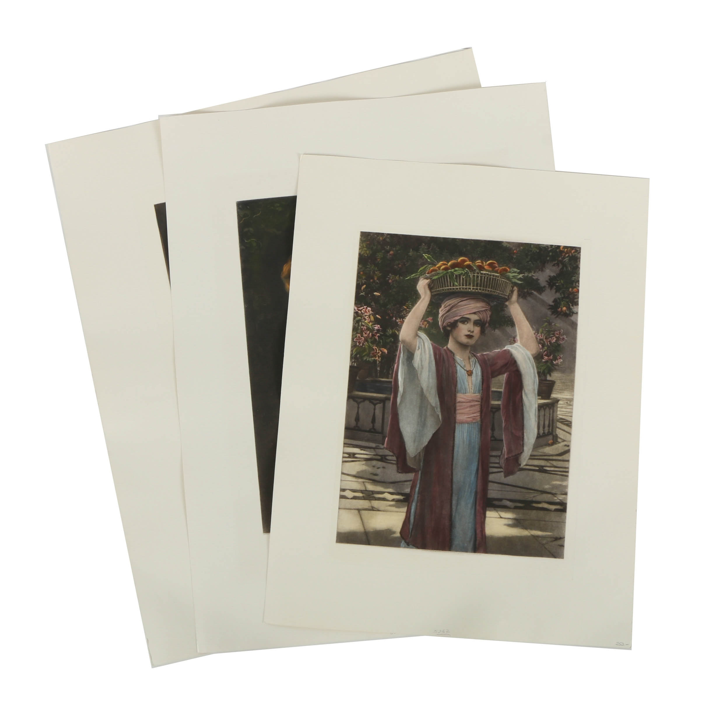 Assortment of Hand Colored Reproduction Prints After Figural Paintings