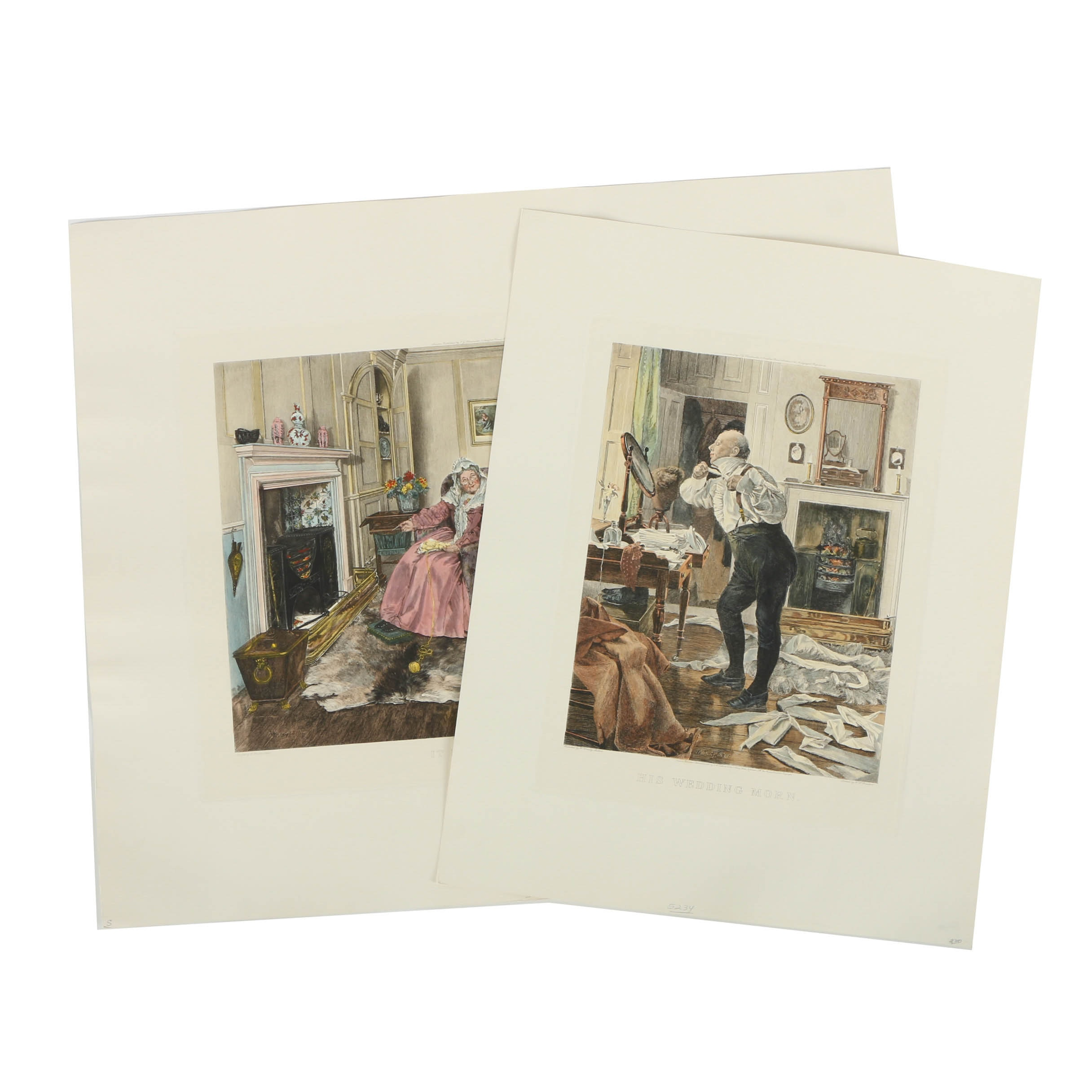 Pair of Hand-Colored Restrike Intaglio Prints After Paintings by W. Dendy Sadler