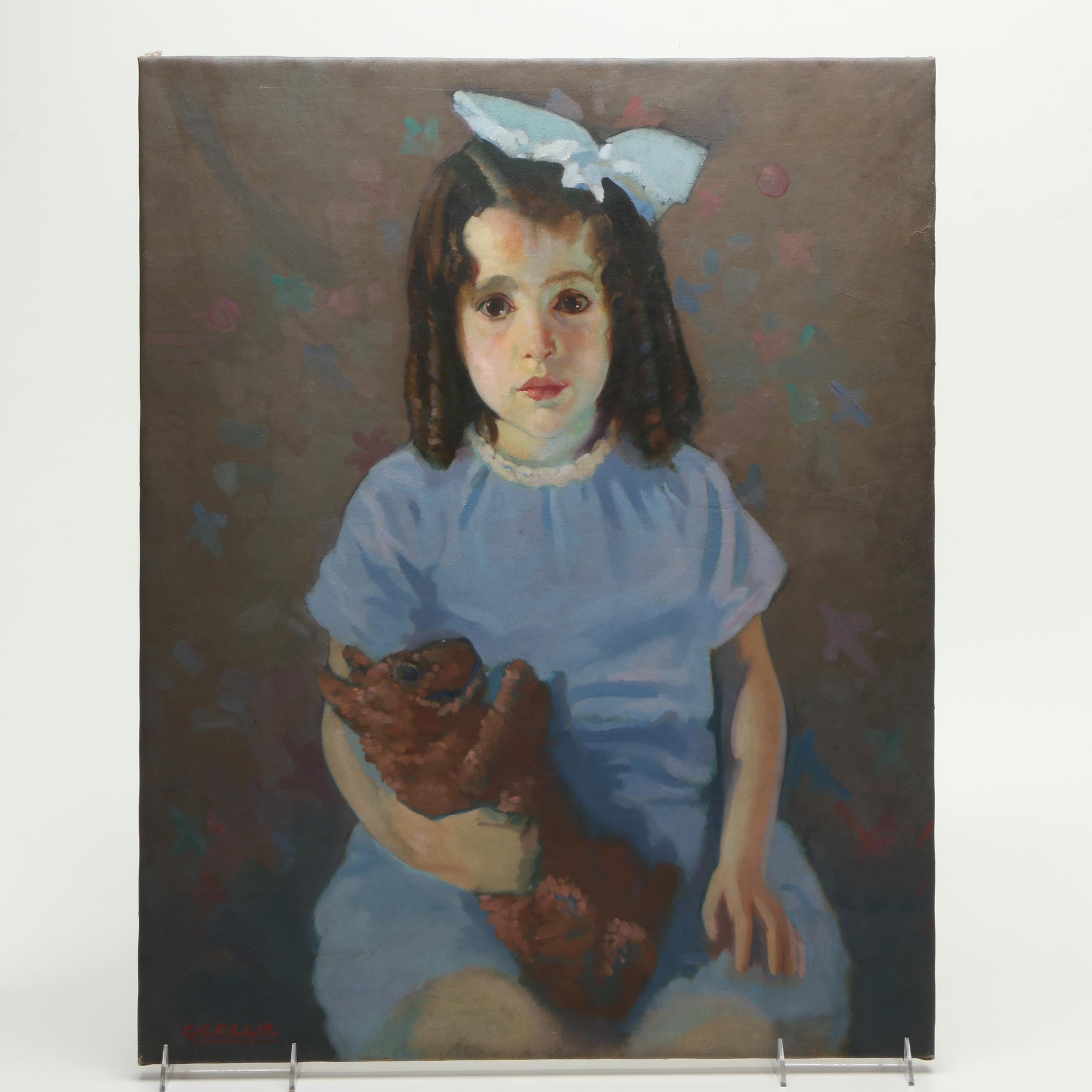 """George Collie Oil Painting on Canvas """"Girl With Stuffed Animal"""""""