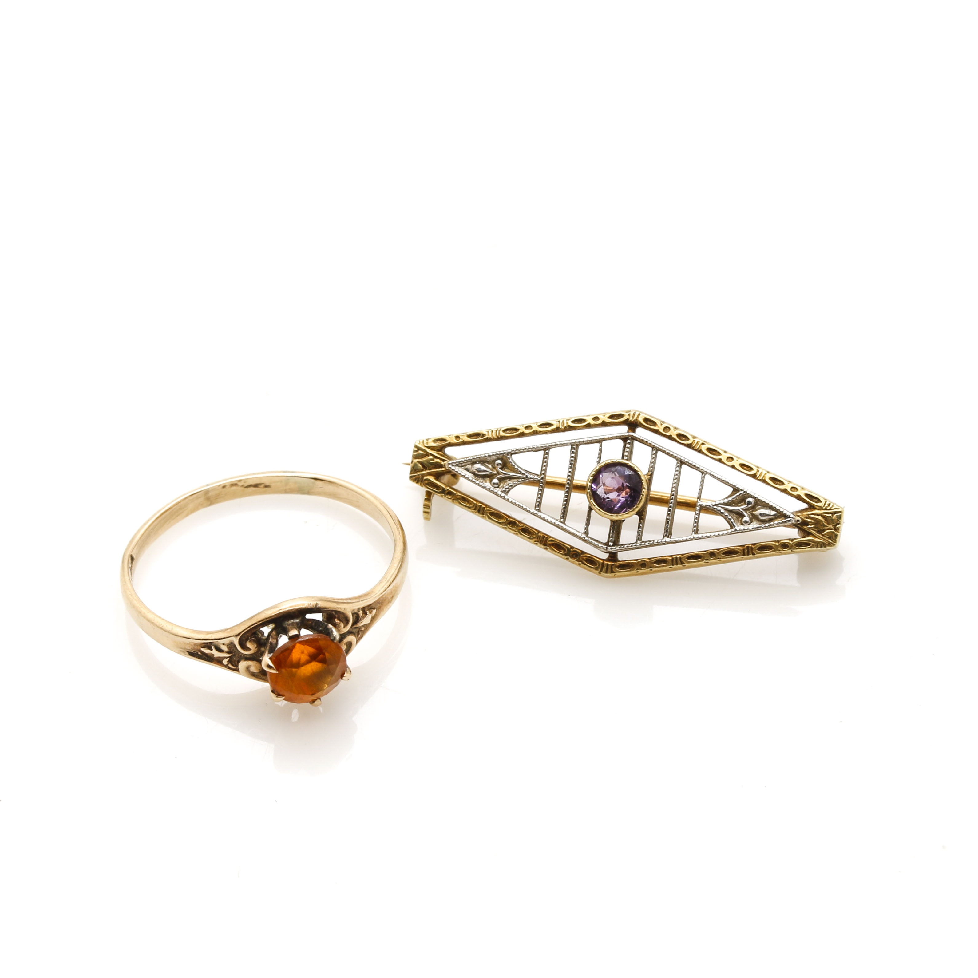 14K Yellow Gold Amethyst Brooch and 10K Yellow Gold Citrine Ring