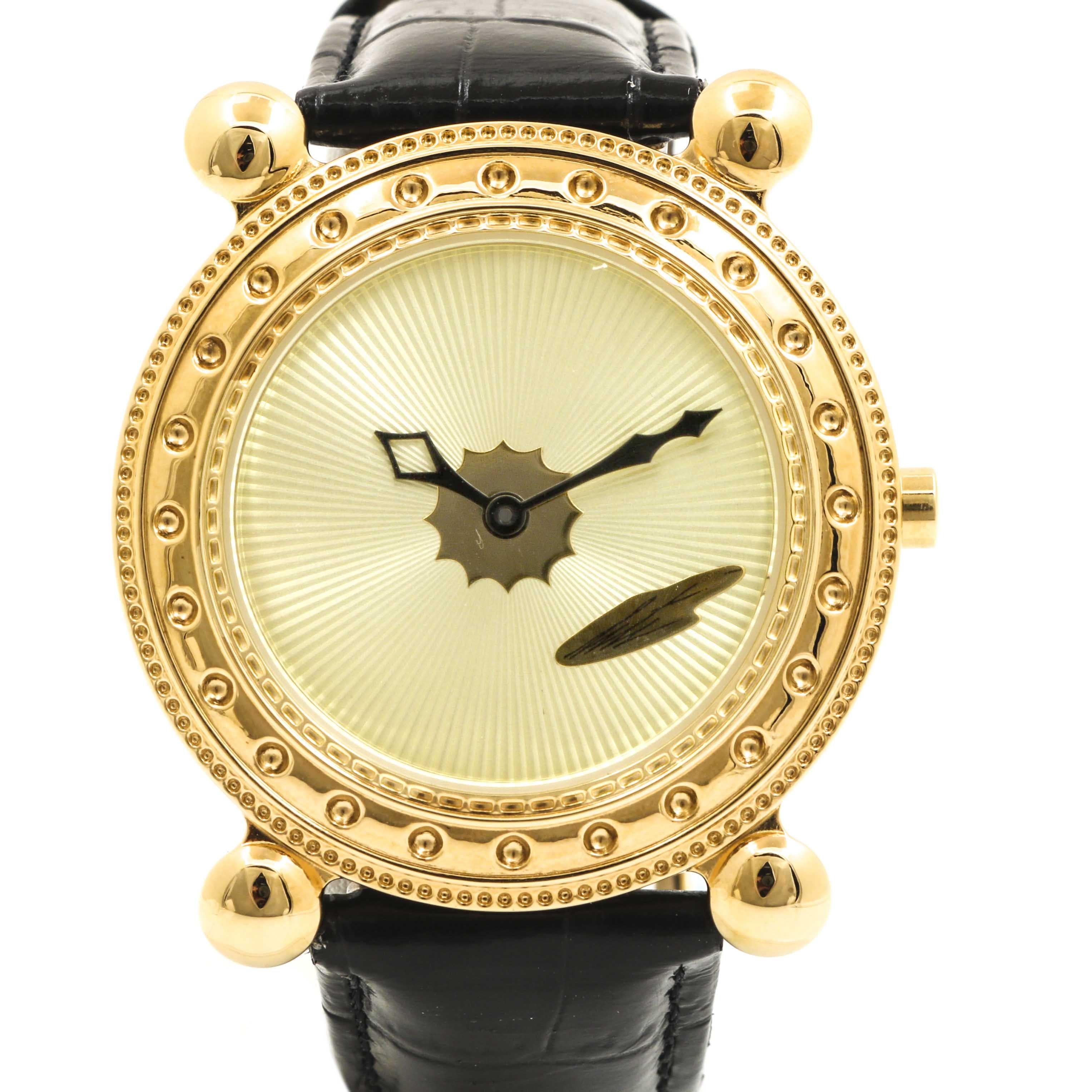 Erté Yellow Gold Plate Stainless Steel Wristwatch