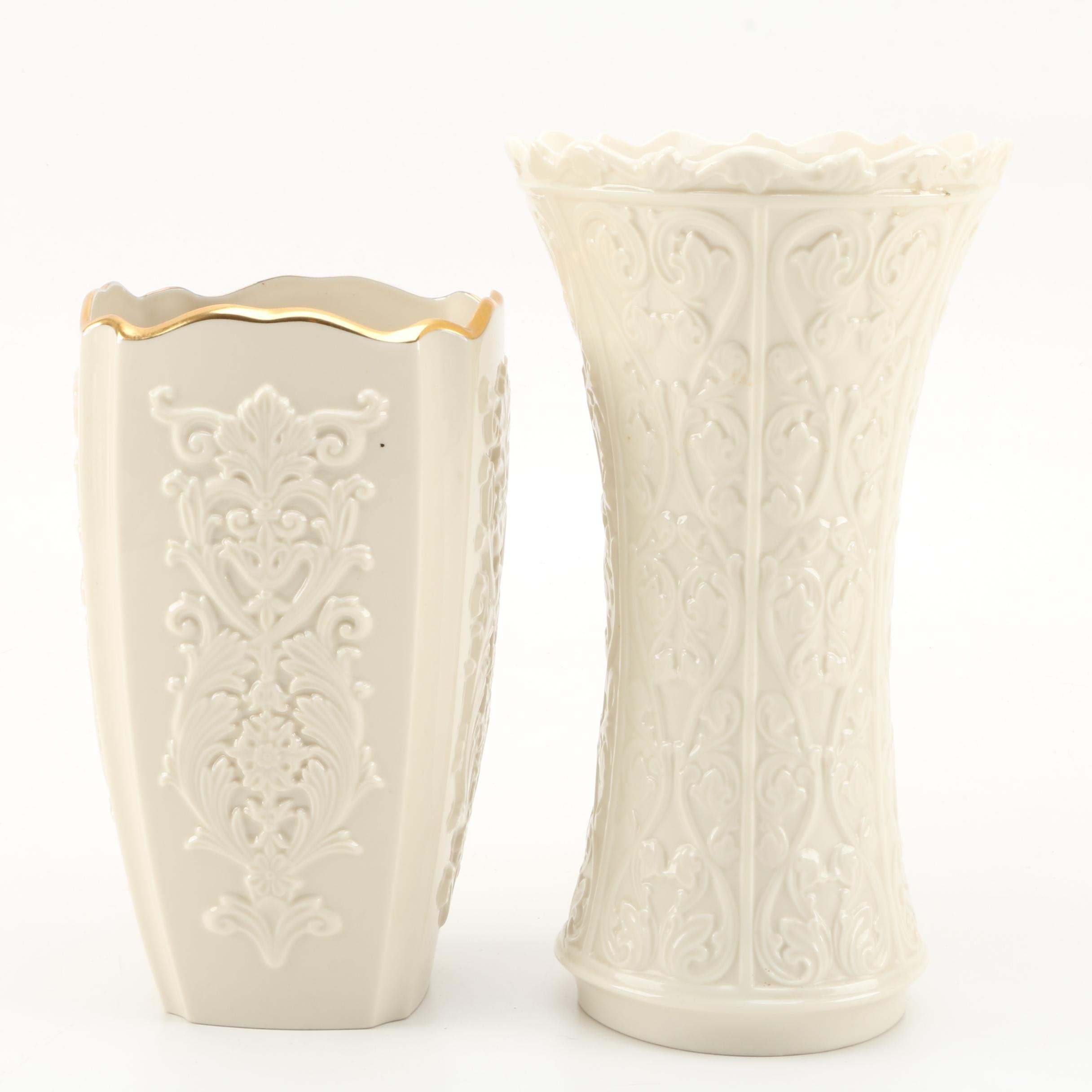 """Lenox Embossed Porcelain Vases Featuring """"Wentworth"""""""