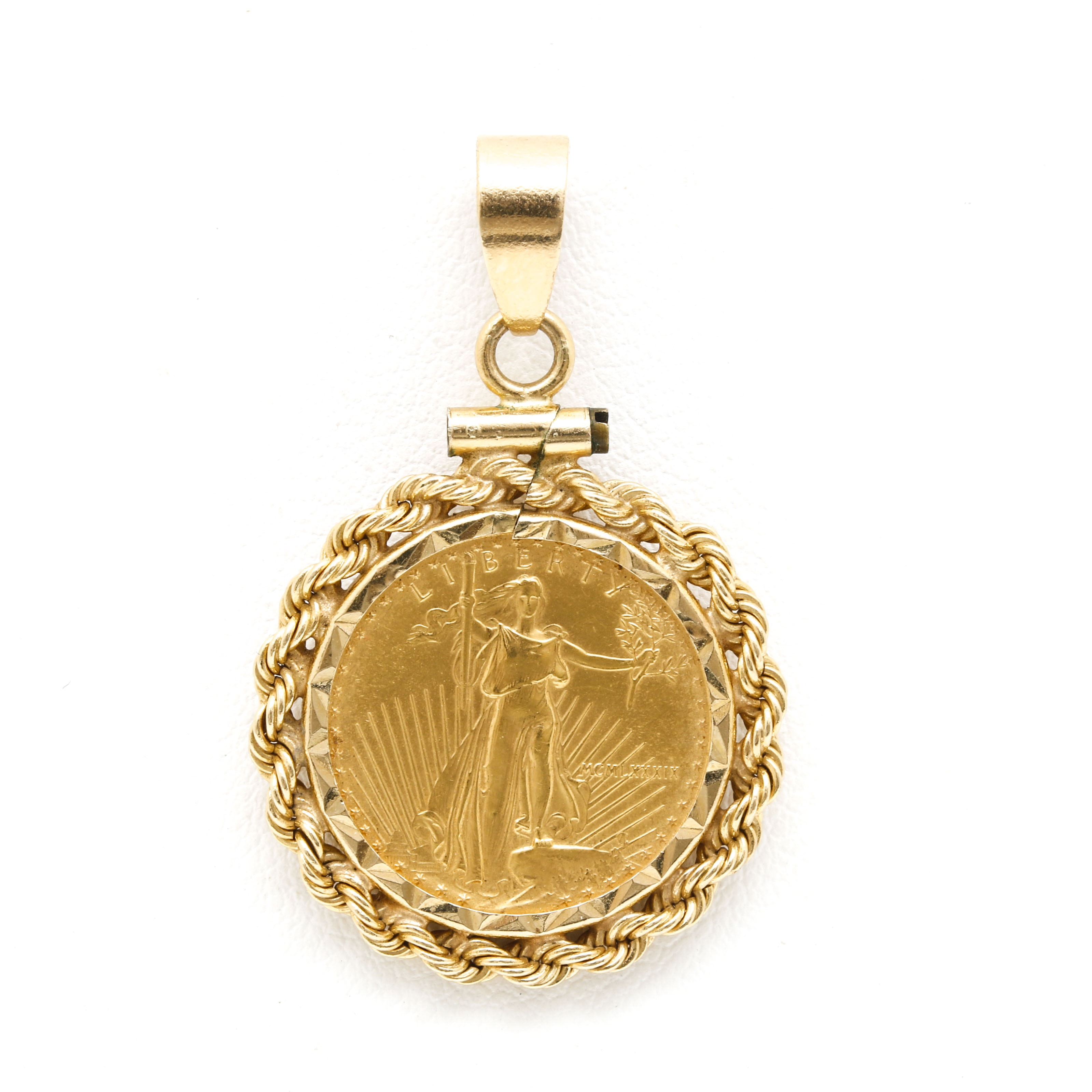 14K Yellow Gold Pendant Set with American Eagle Gold Bullion Coin