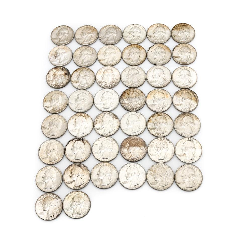 Forty-Four Washington Silver Quarters