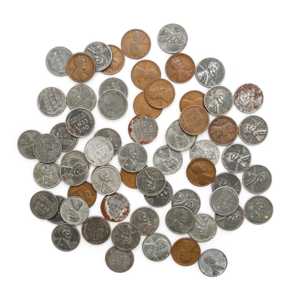 Collection of Pre 1920 Wheat Cents and Wartime Steel Cents